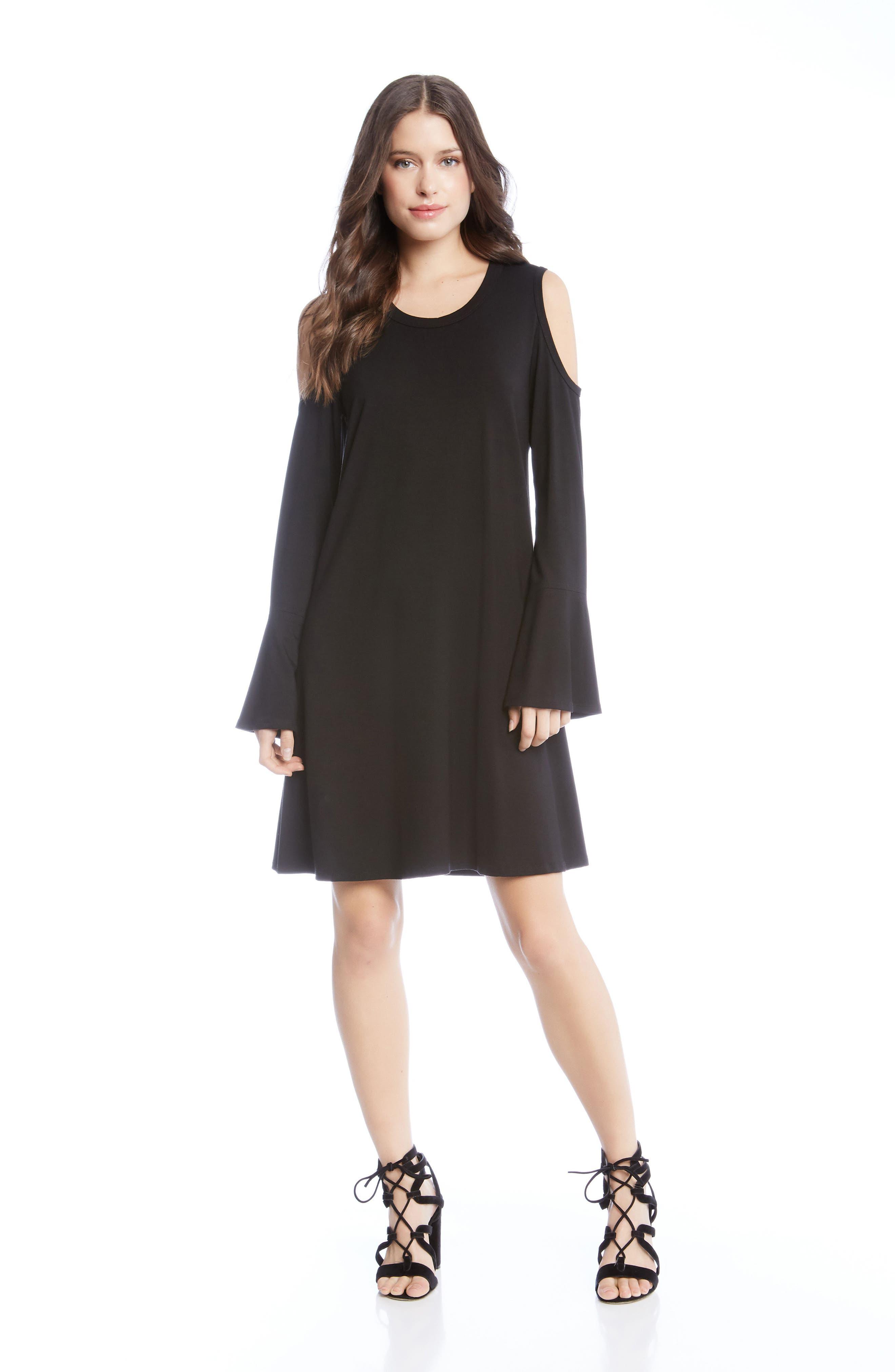 Cold Shoulder A-Line Dress,                             Alternate thumbnail 2, color,                             Black