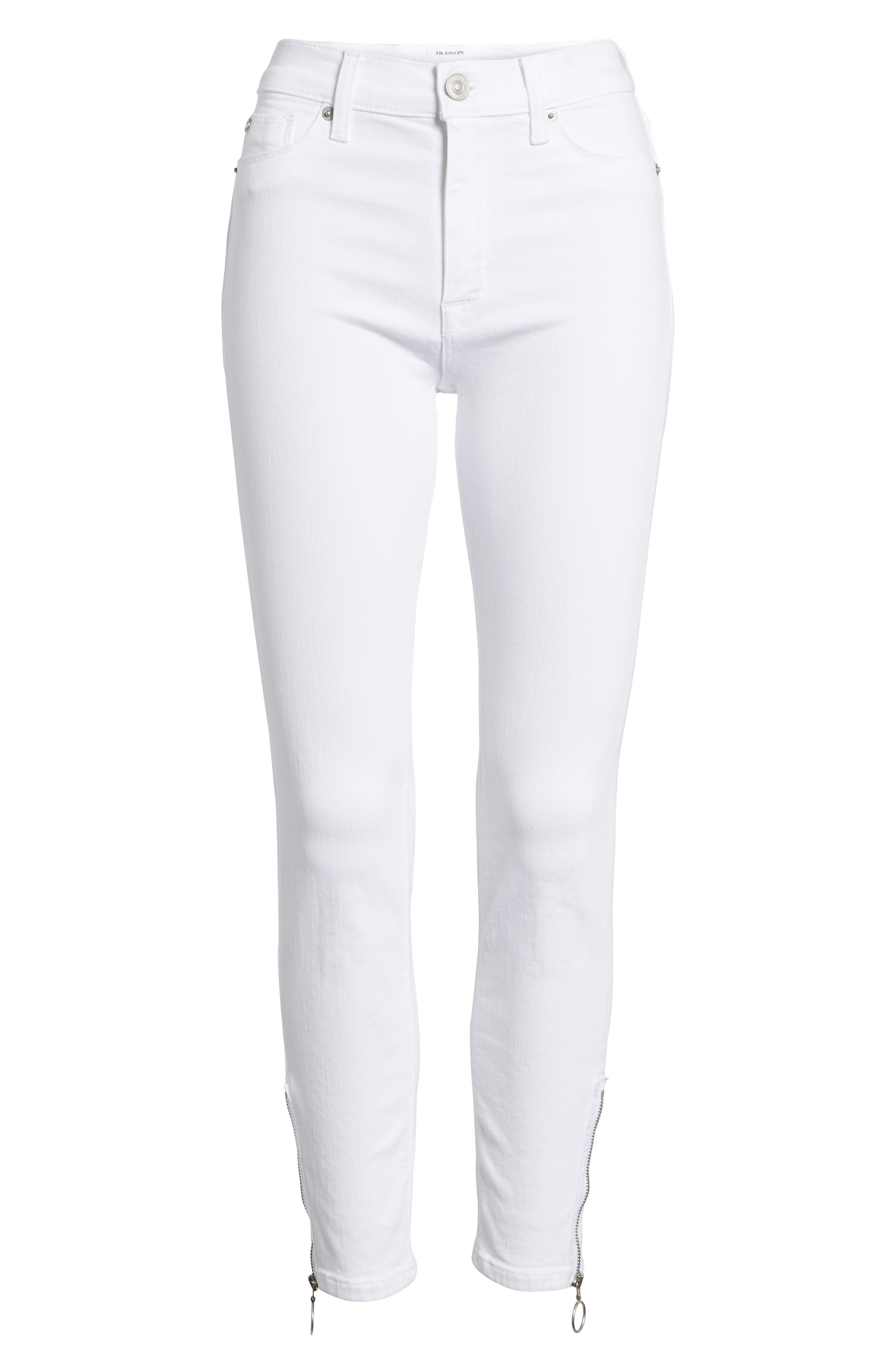 Barbara High Waist Ankle Skinny Jeans,                             Alternate thumbnail 6, color,                             Optical White
