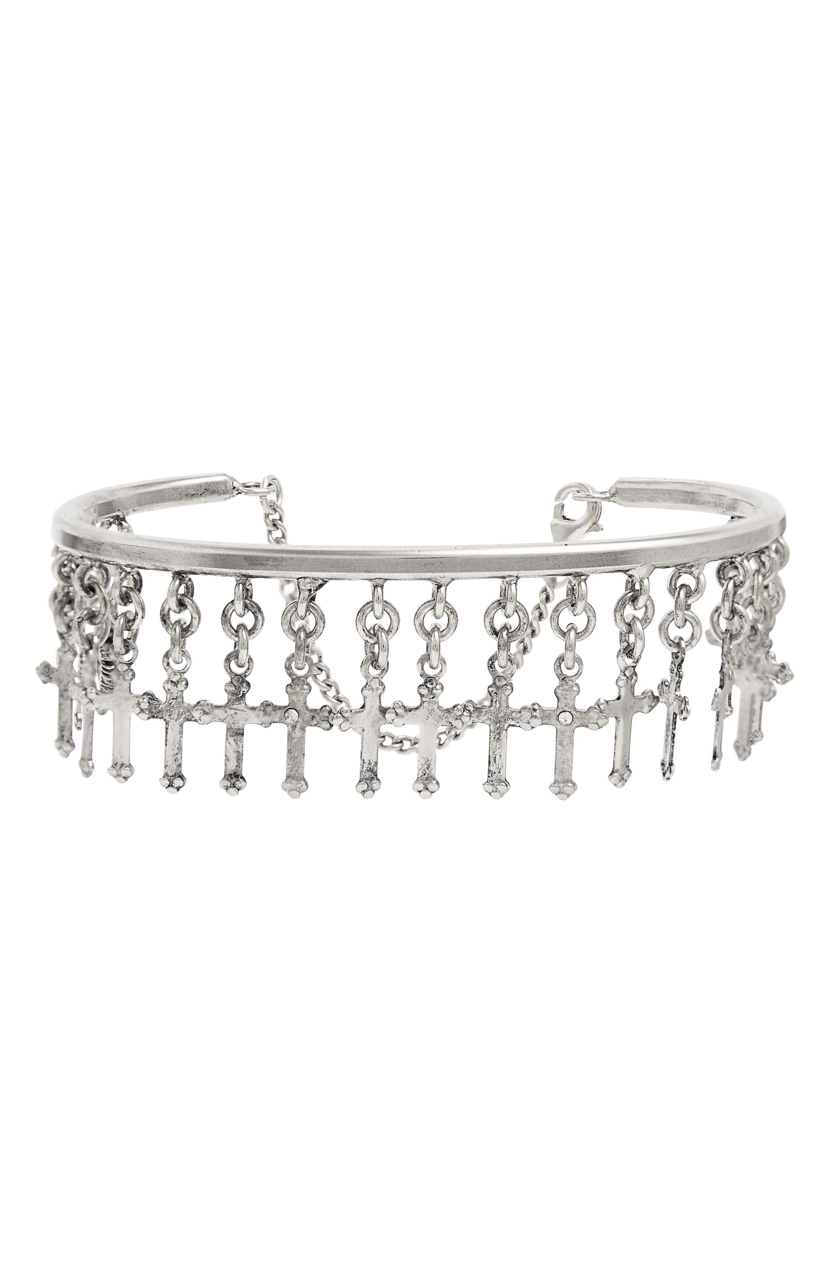 Bee Fierce Cuff Bracelet,                         Main,                         color, Silver