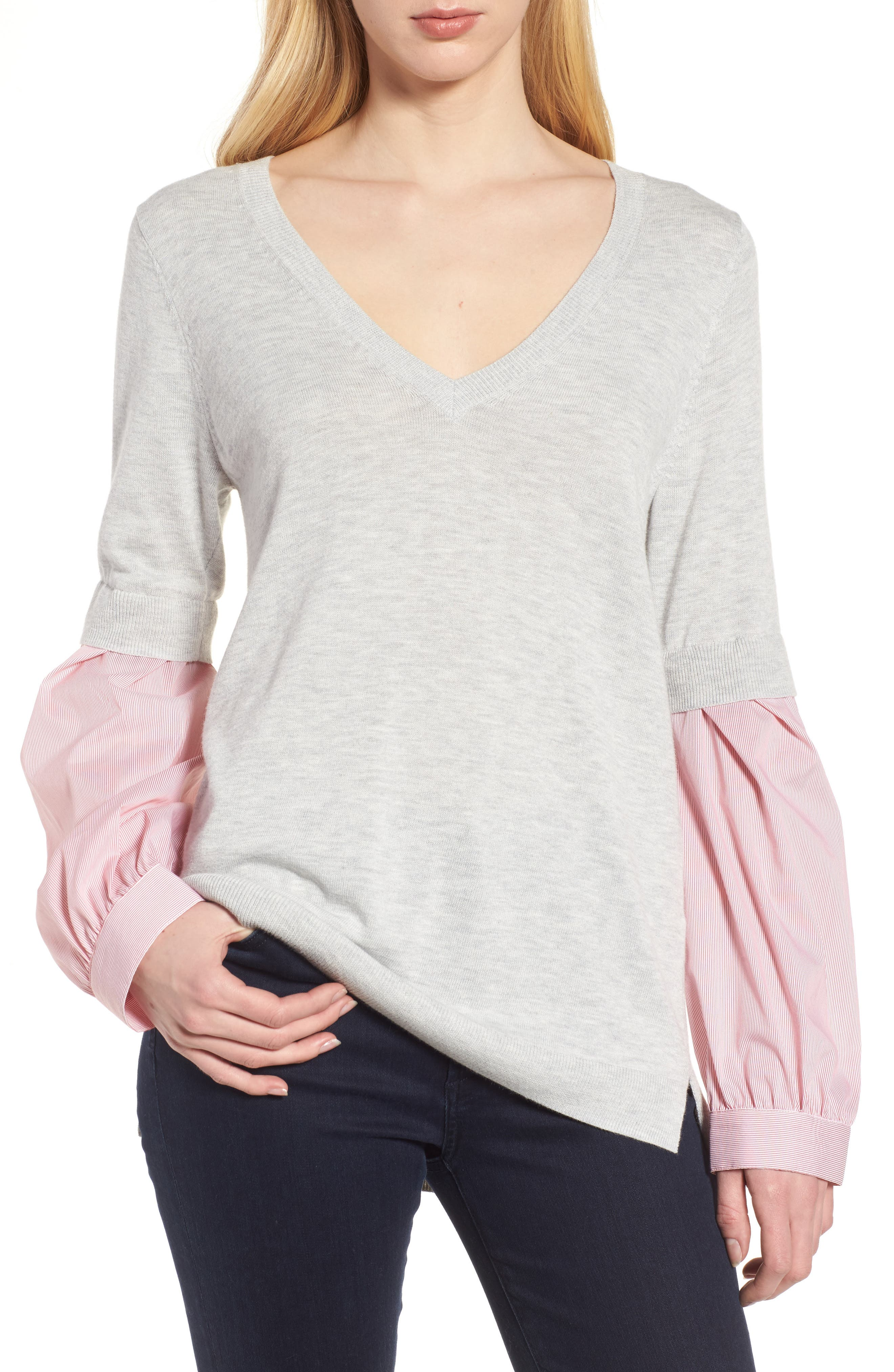 Woven Sleeve Sweater,                         Main,                         color, Grey Light Heather