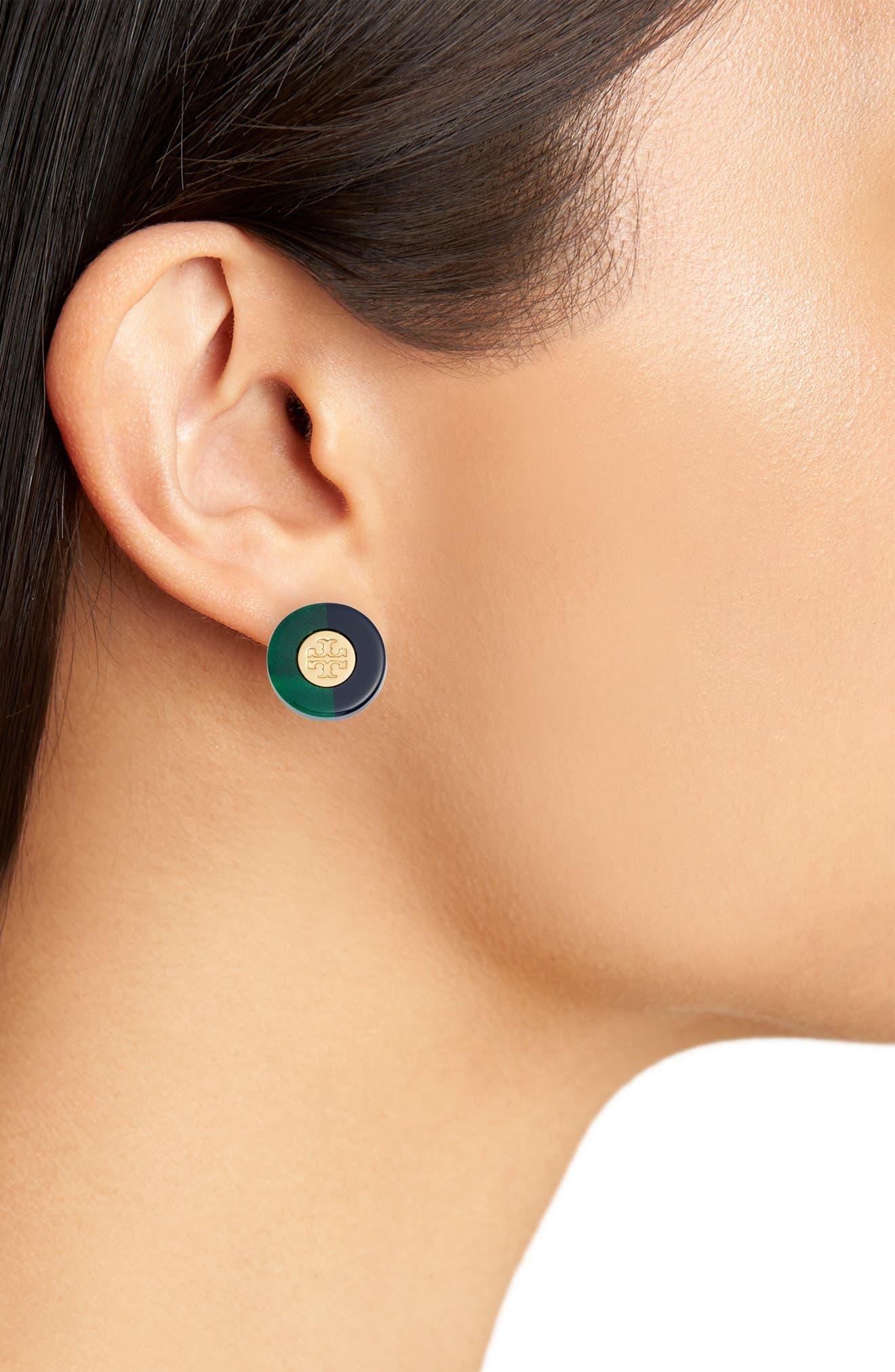 Logo Colorblock Stud Earrings,                             Alternate thumbnail 2, color,                             Malachite/ Tory Navy