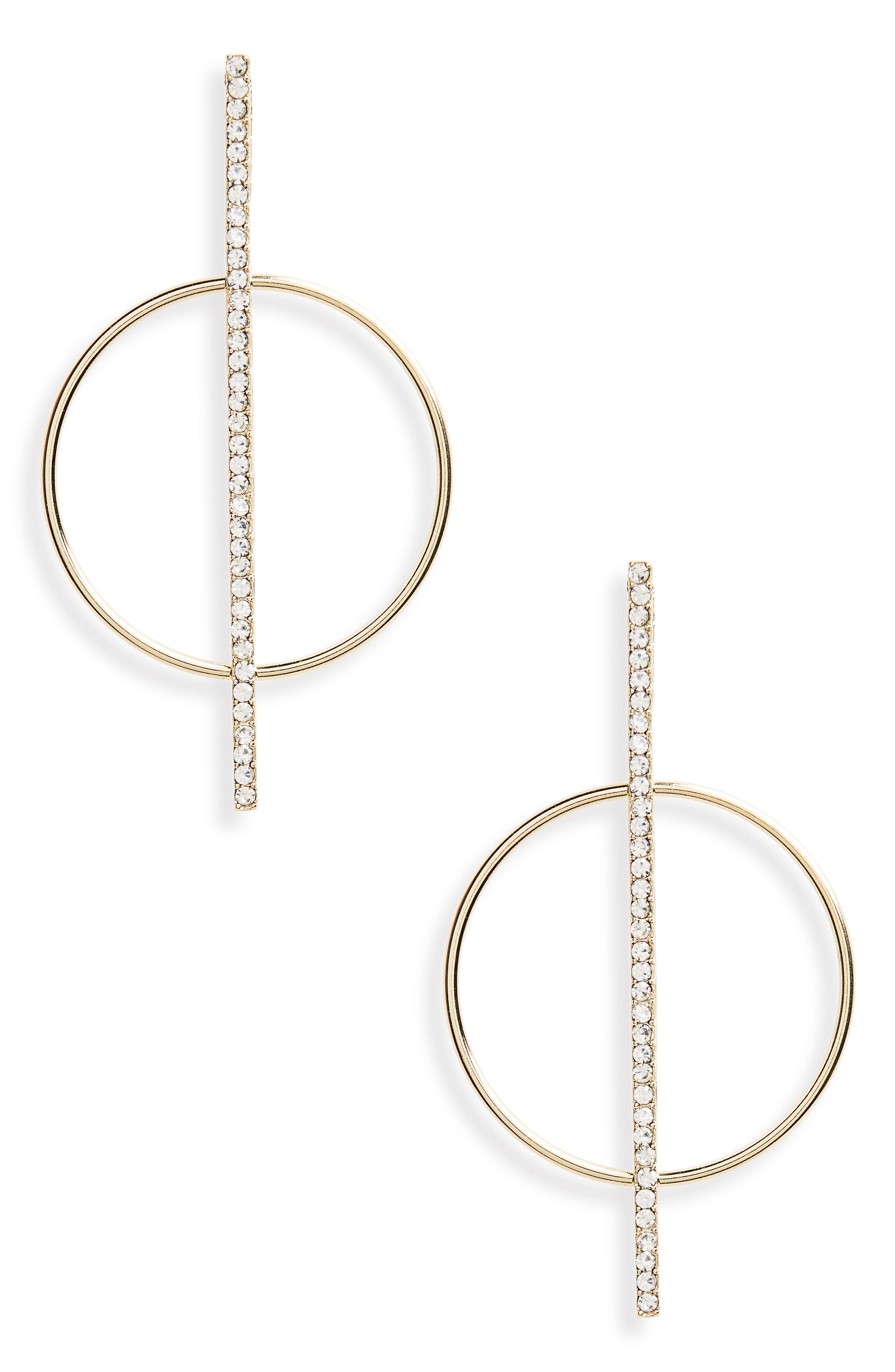 Line Crystal Statement Earrings,                         Main,                         color, Gold