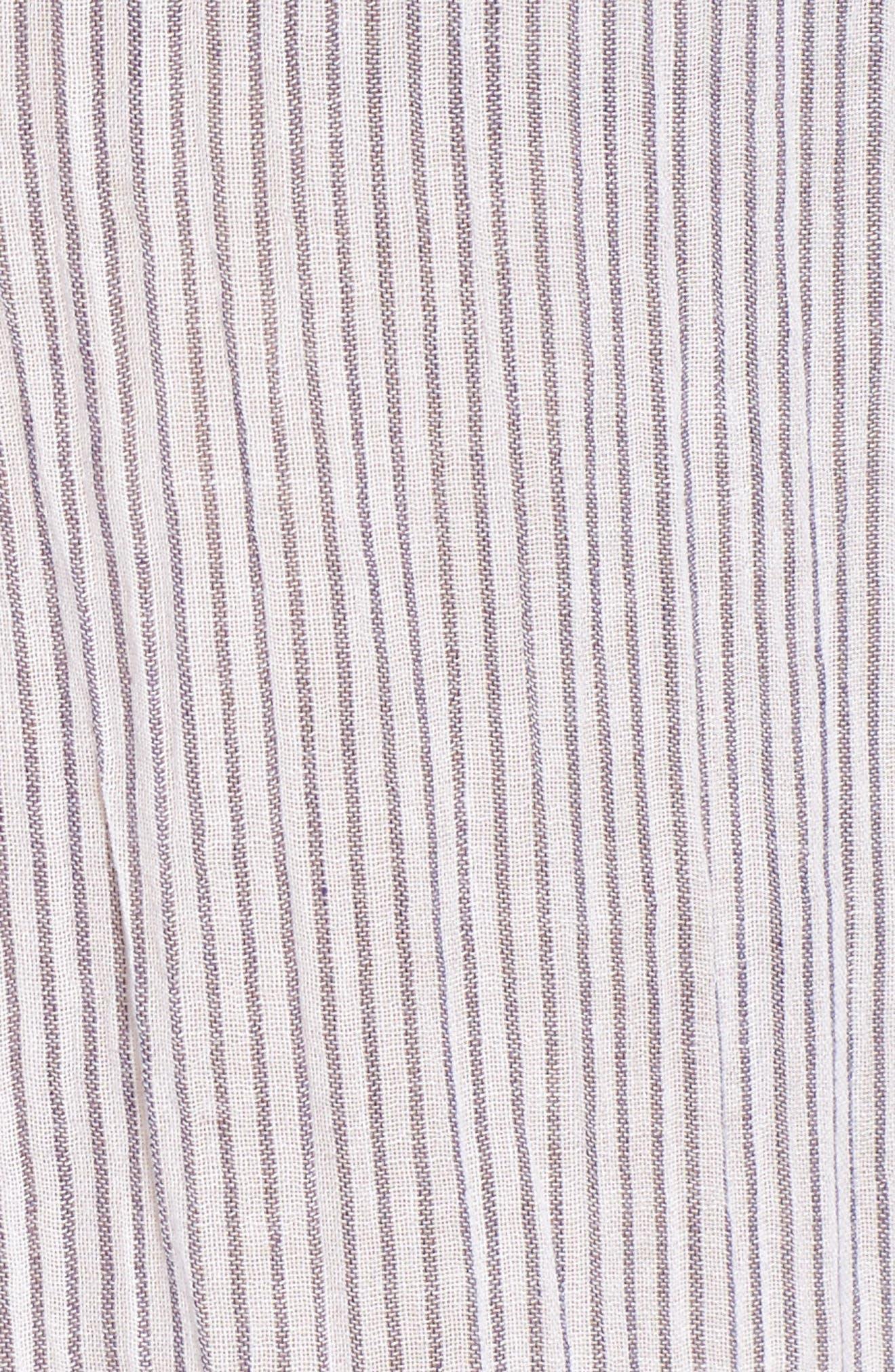Tie Sleeve Woven Tunic,                             Alternate thumbnail 6, color,                             Navy- White Stripe