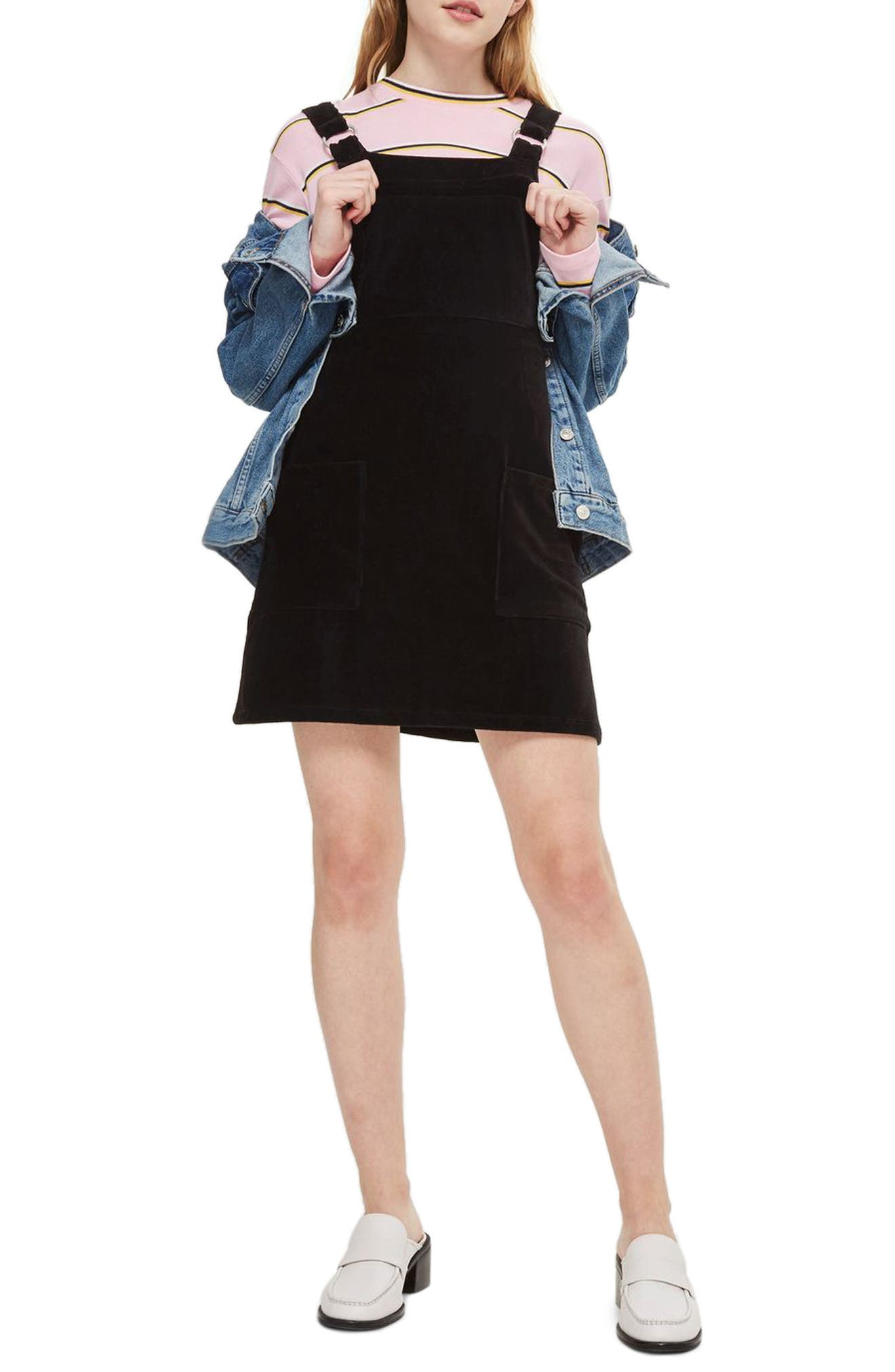 Corduroy Pinafore Dress,                         Main,                         color, Black