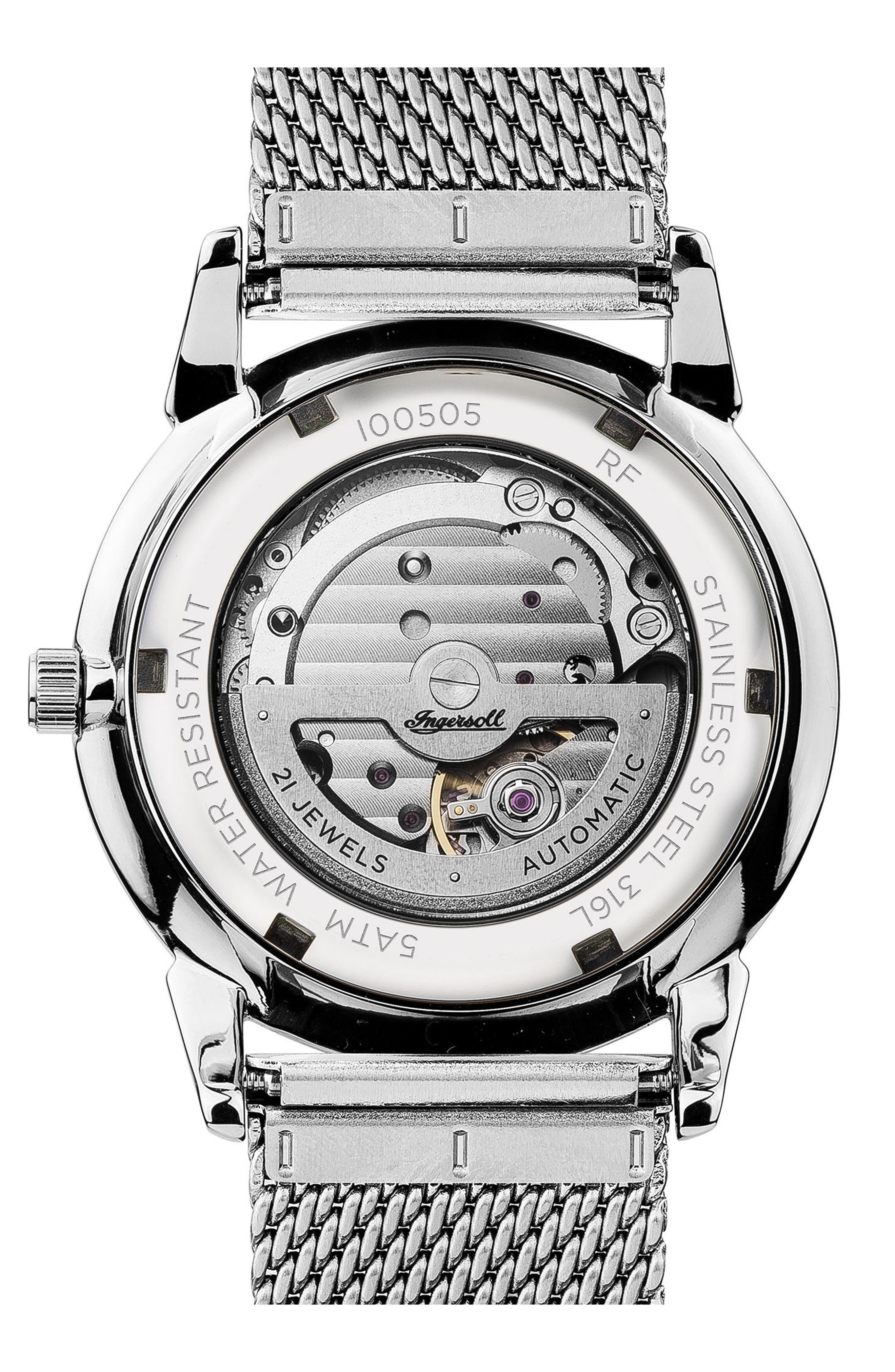 Ingersoll New Haven Automatic Mesh Strap Watch, 40mm,                             Alternate thumbnail 2, color,                             Silver/ Black/ Silver