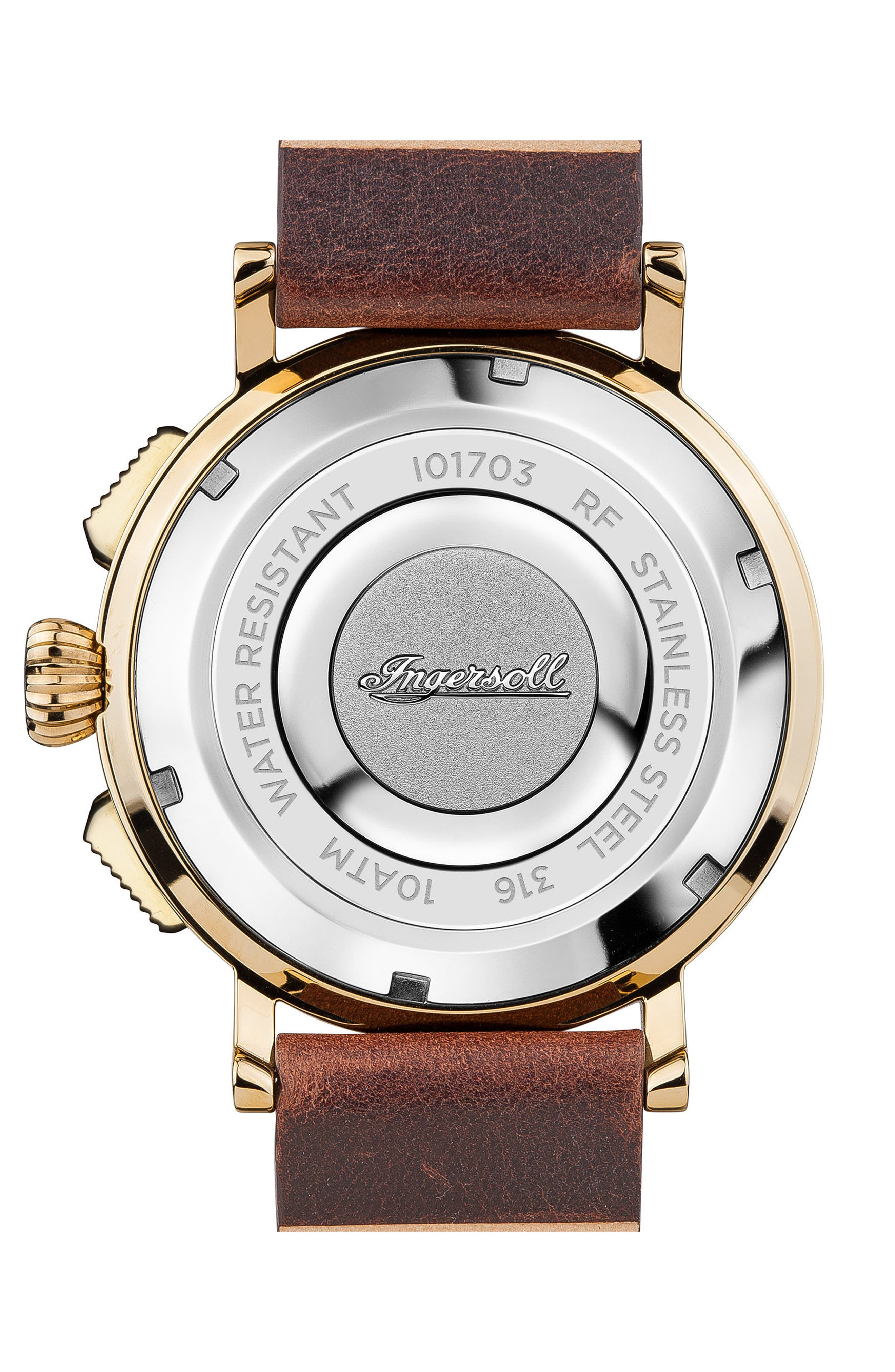 Ingersoll St. John Chronograph Leather Strap Watch, 44mm,                             Alternate thumbnail 2, color,                             Brown/ White/ Gold