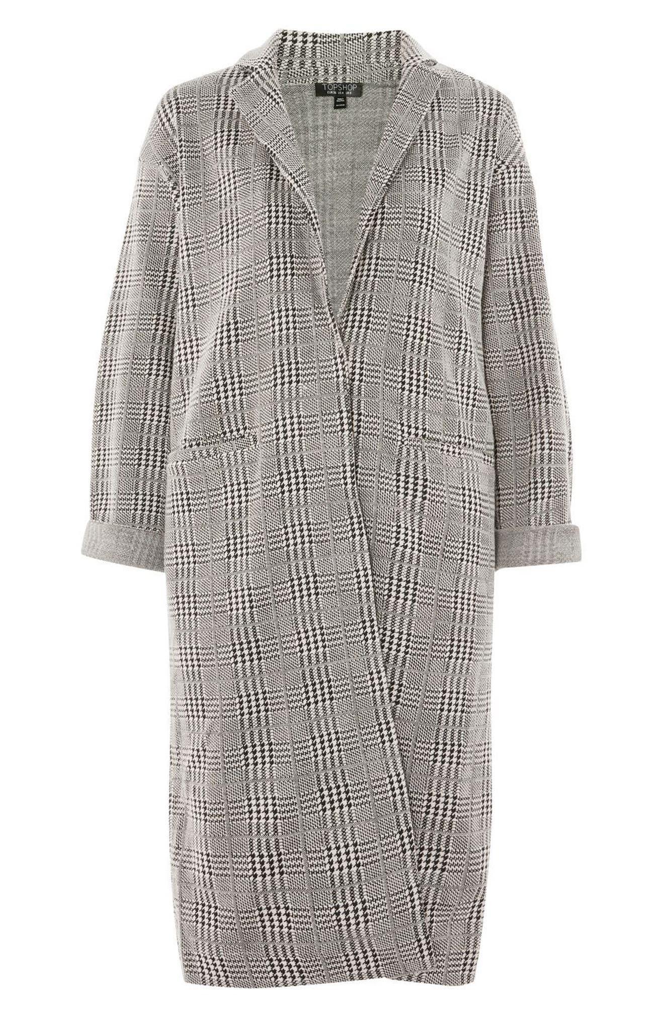 Alternate Image 3  - Topshop Check Jersey Duster Coat