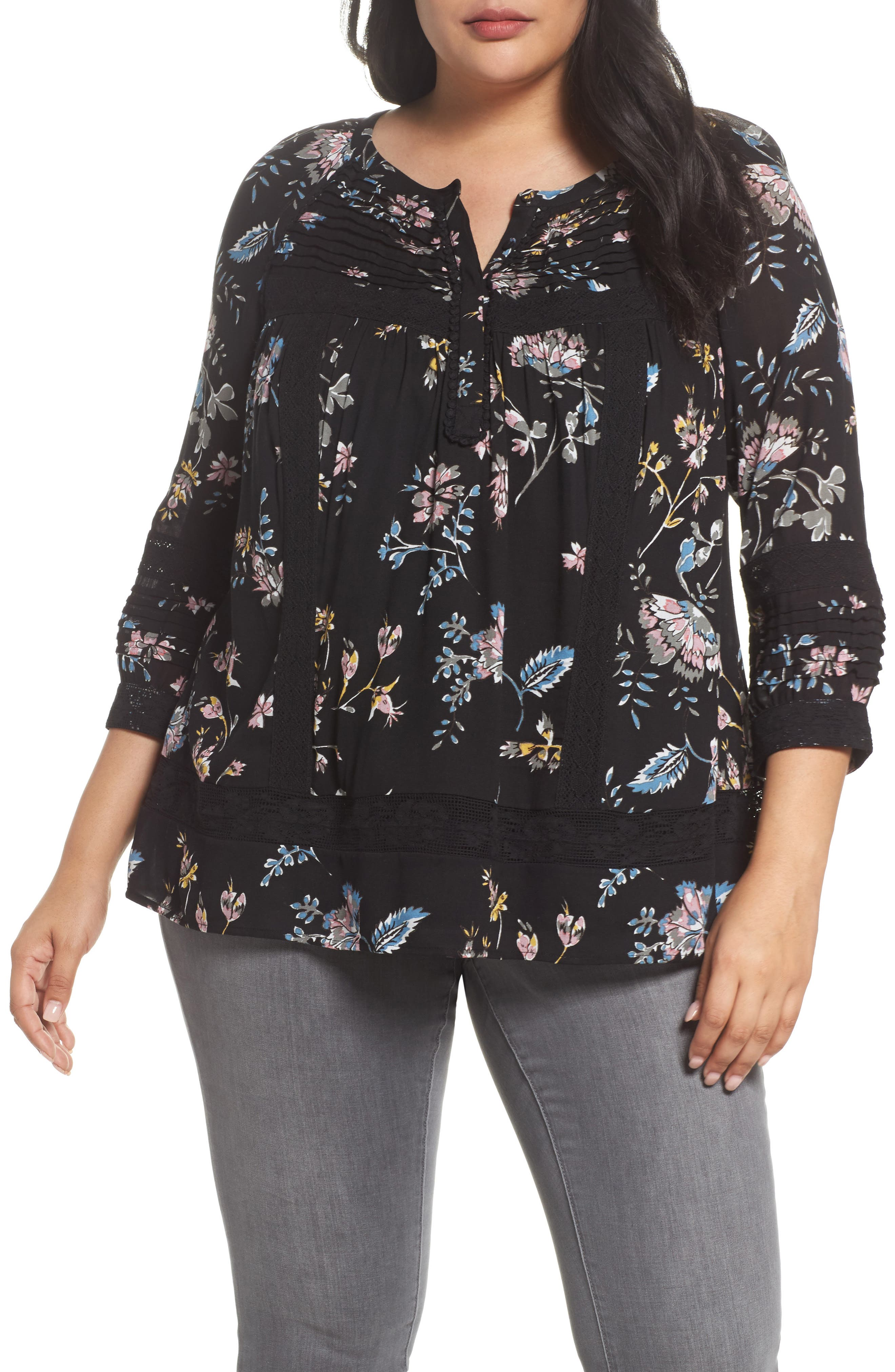 Daniel Rainn Lace Trim Floral Top (Plus Size)