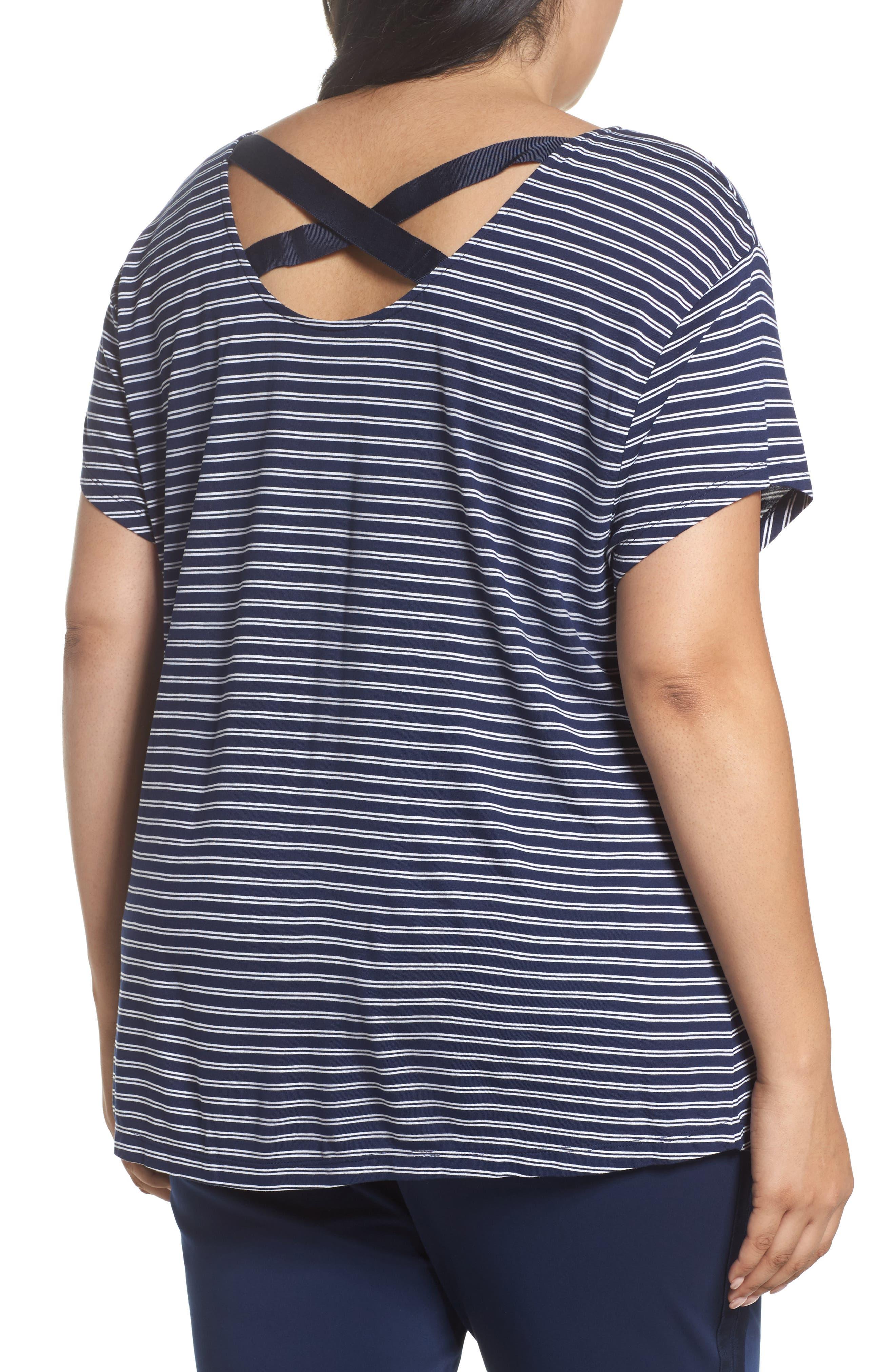 Stripe Cross Back Tee,                             Alternate thumbnail 2, color,                             Navy- White Cori Stripe