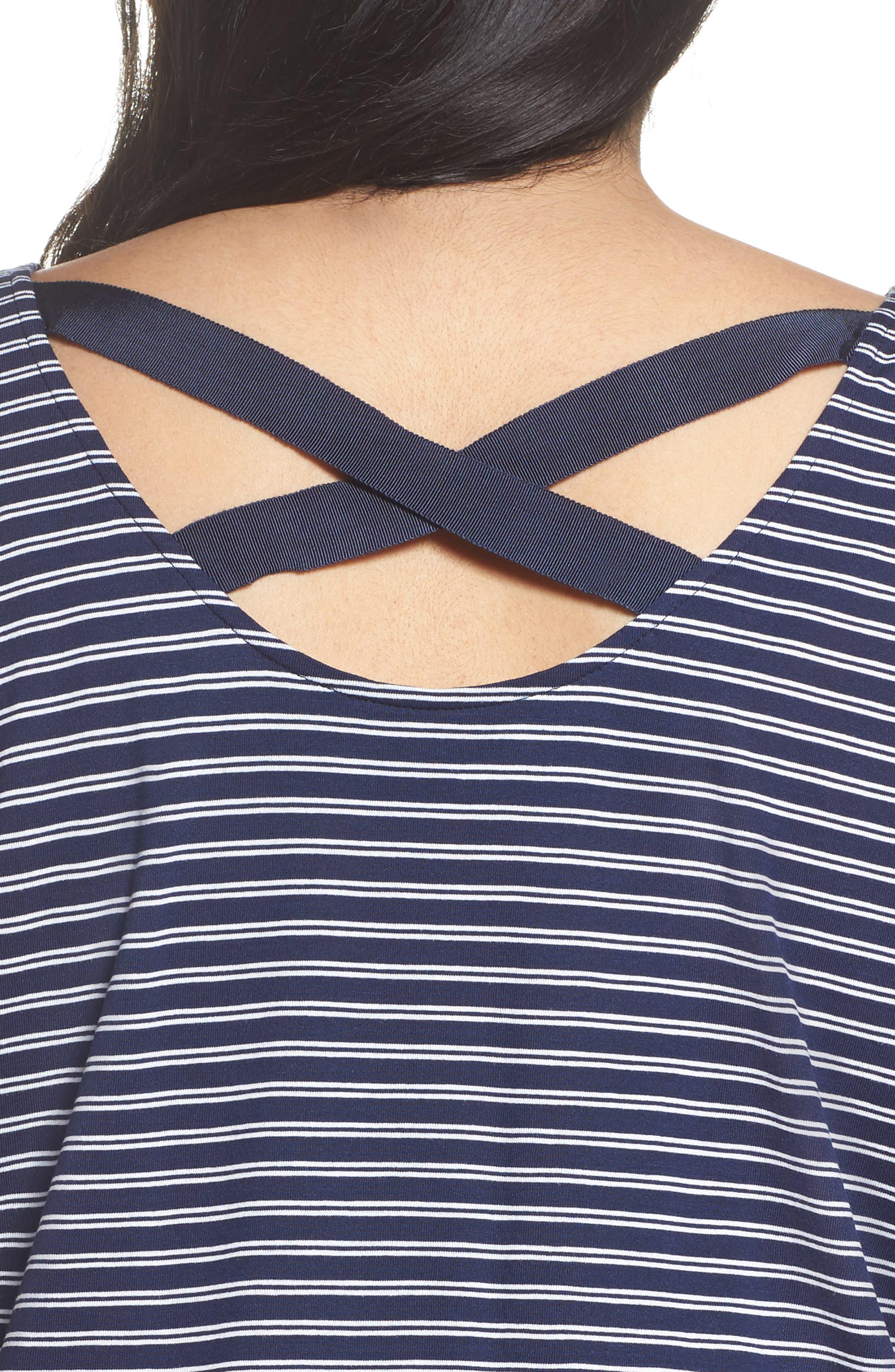 Stripe Cross Back Tee,                             Alternate thumbnail 4, color,                             Navy- White Cori Stripe
