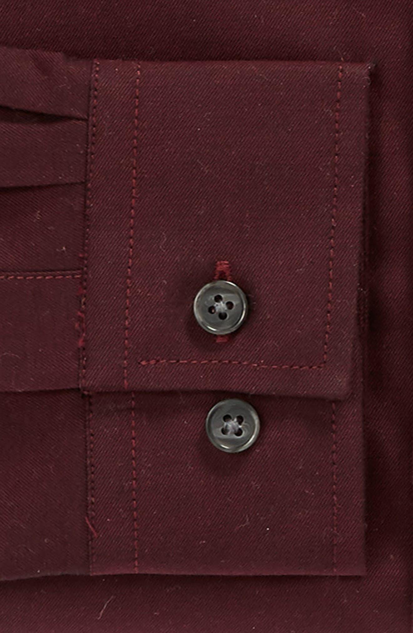 Trim Fit Solid Dress Shirt,                             Alternate thumbnail 3, color,                             Burgundy
