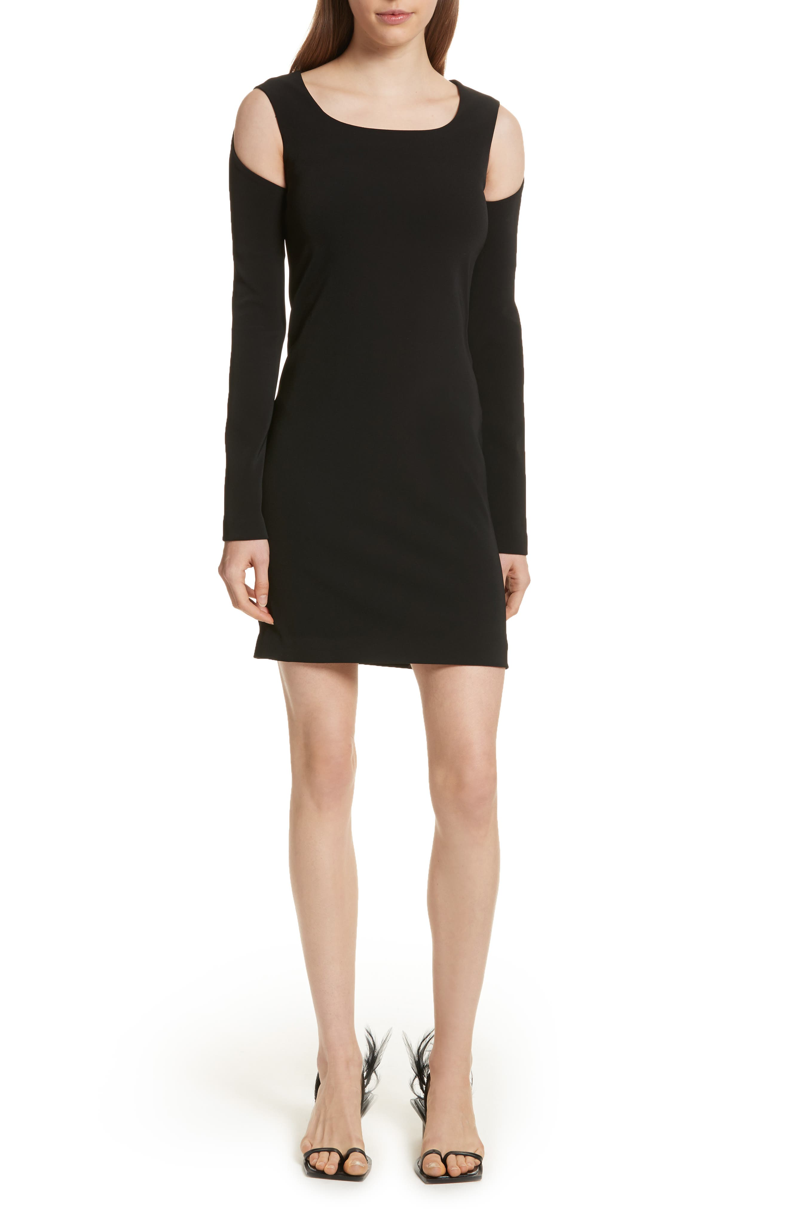 Cold Shoulder Sheath Dress,                         Main,                         color, Black
