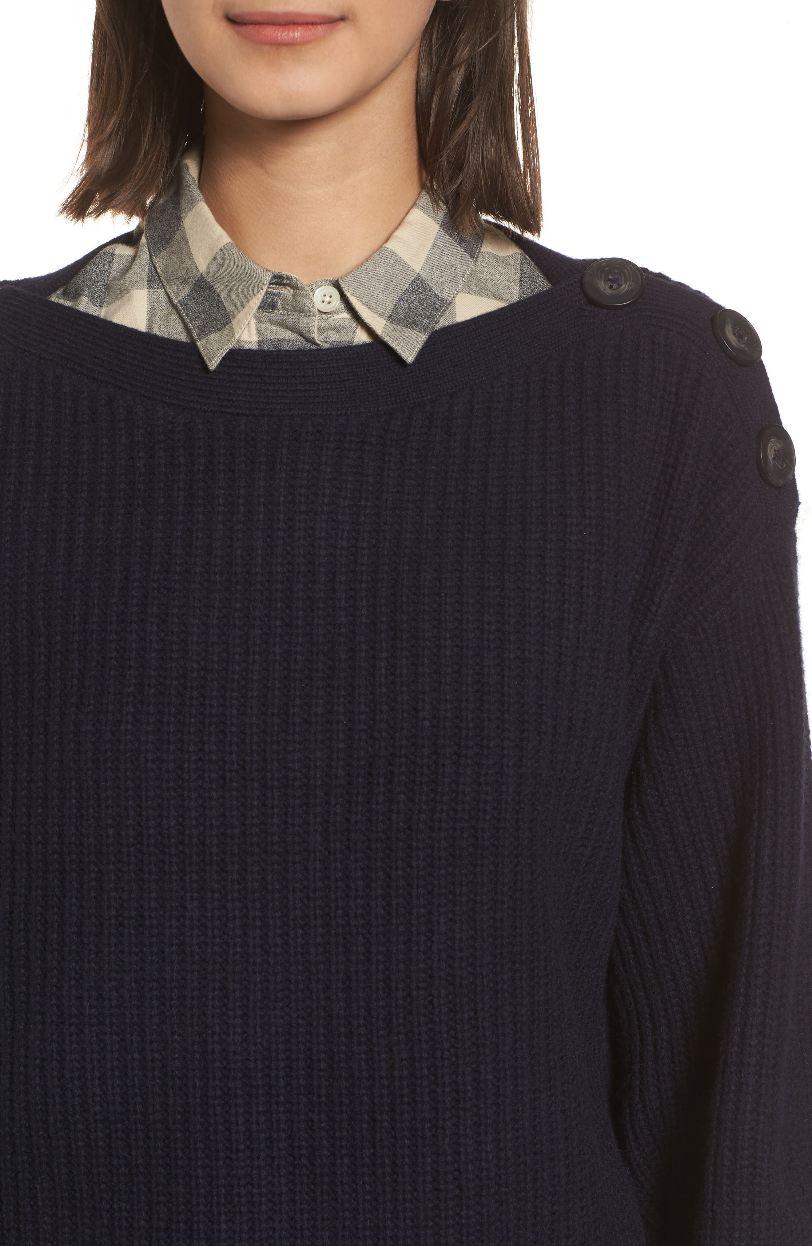 Boatneck Bubble Sleeve Sweater,                             Alternate thumbnail 4, color,                             Navy
