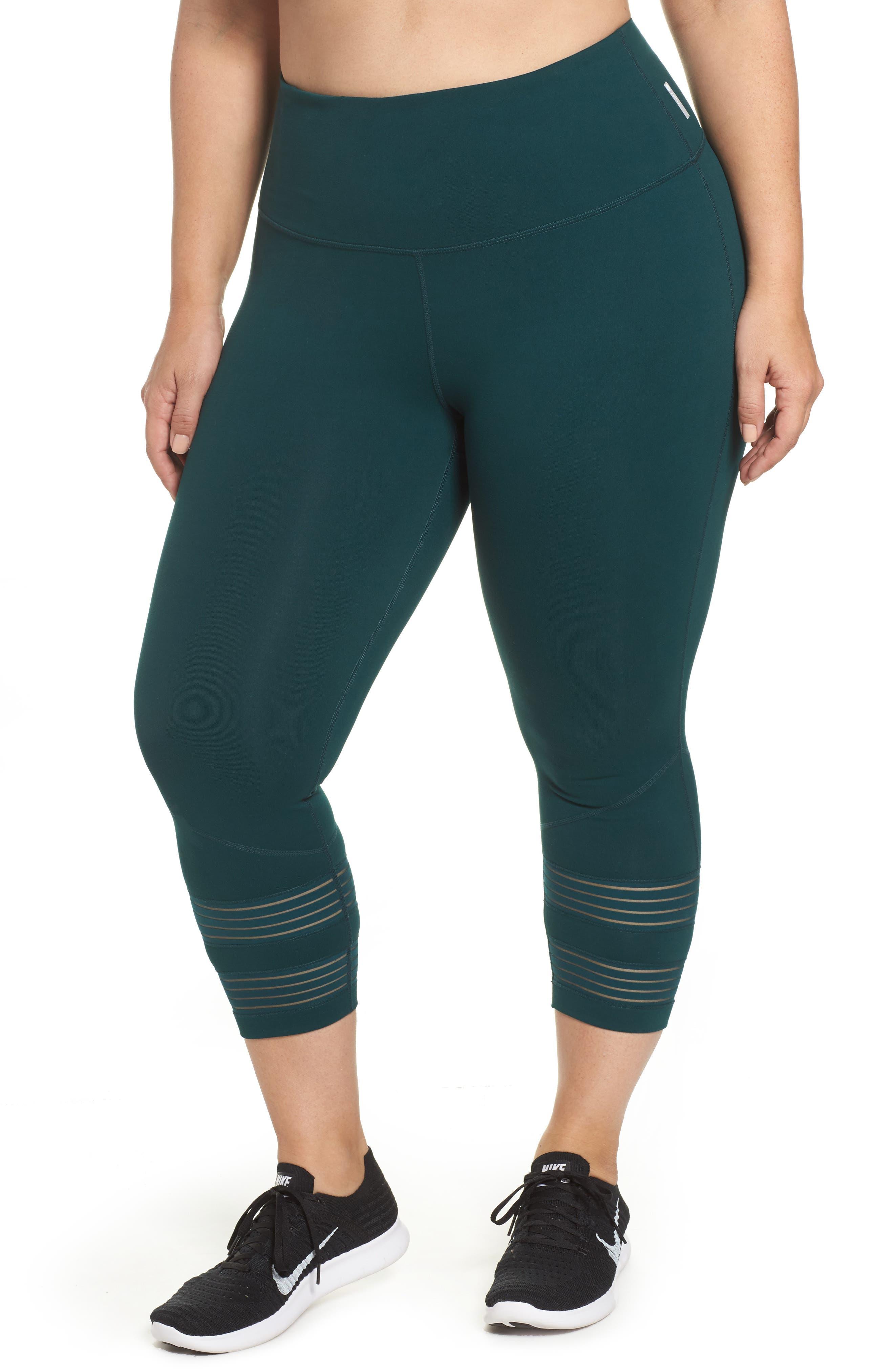 Twin High Waist Crop Leggings,                         Main,                         color, Green Ponderosa