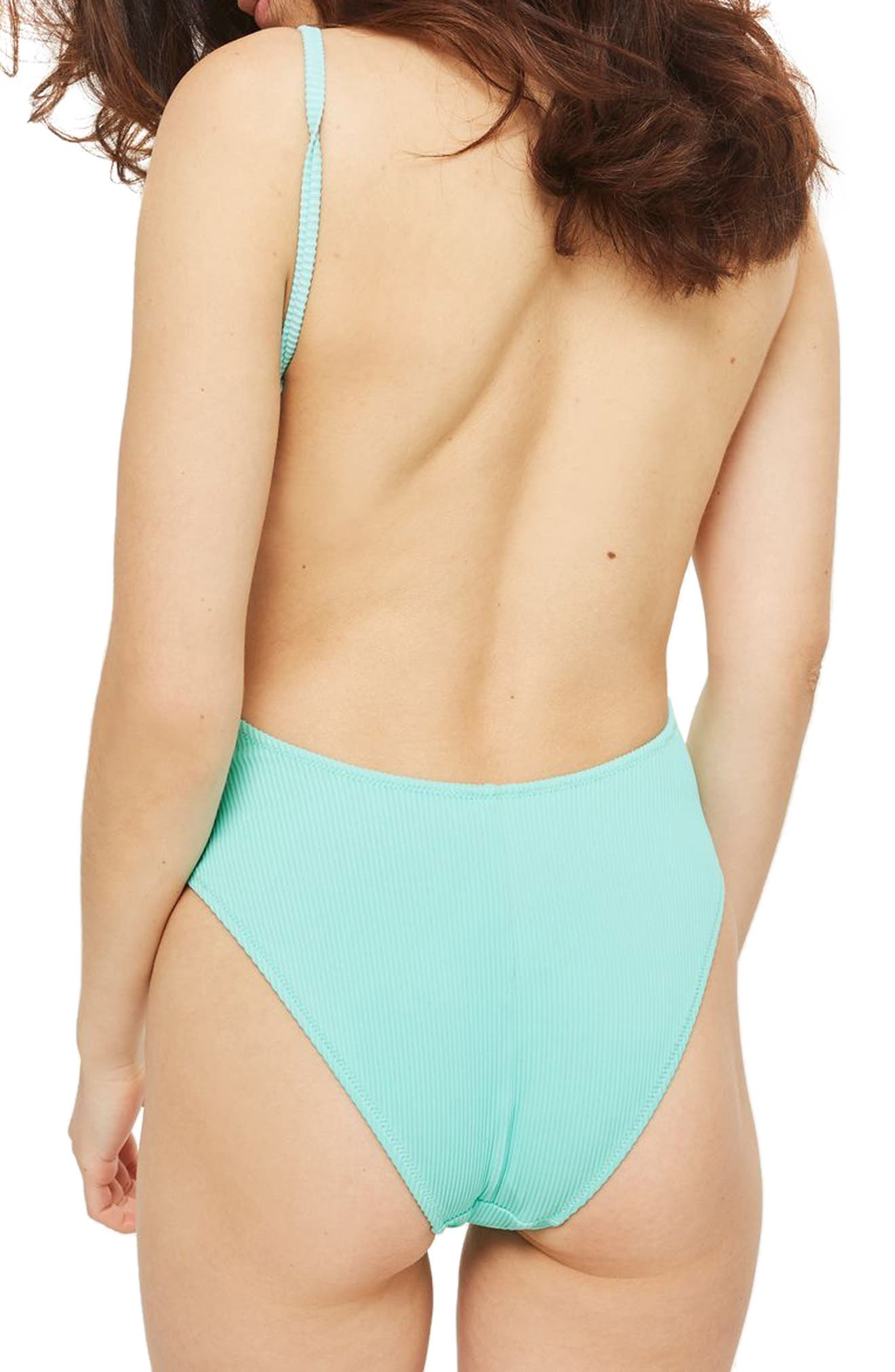 Alternate Image 2  - Topshop Plunge Wide Rib One-Piece Swimsuit