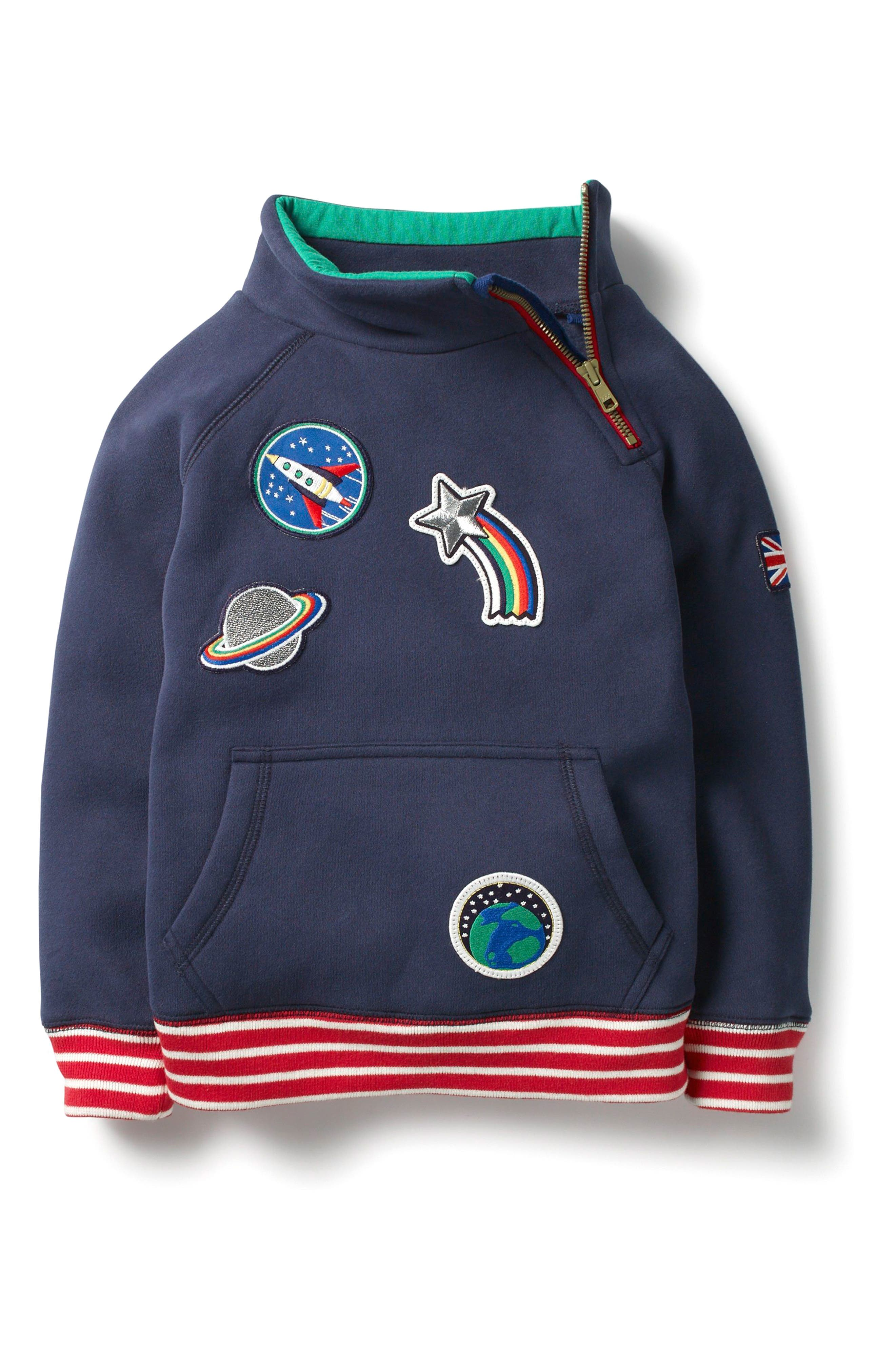 Outer Space Zip Sweatshirt,                             Main thumbnail 1, color,                             Beacon Blue Space Patches