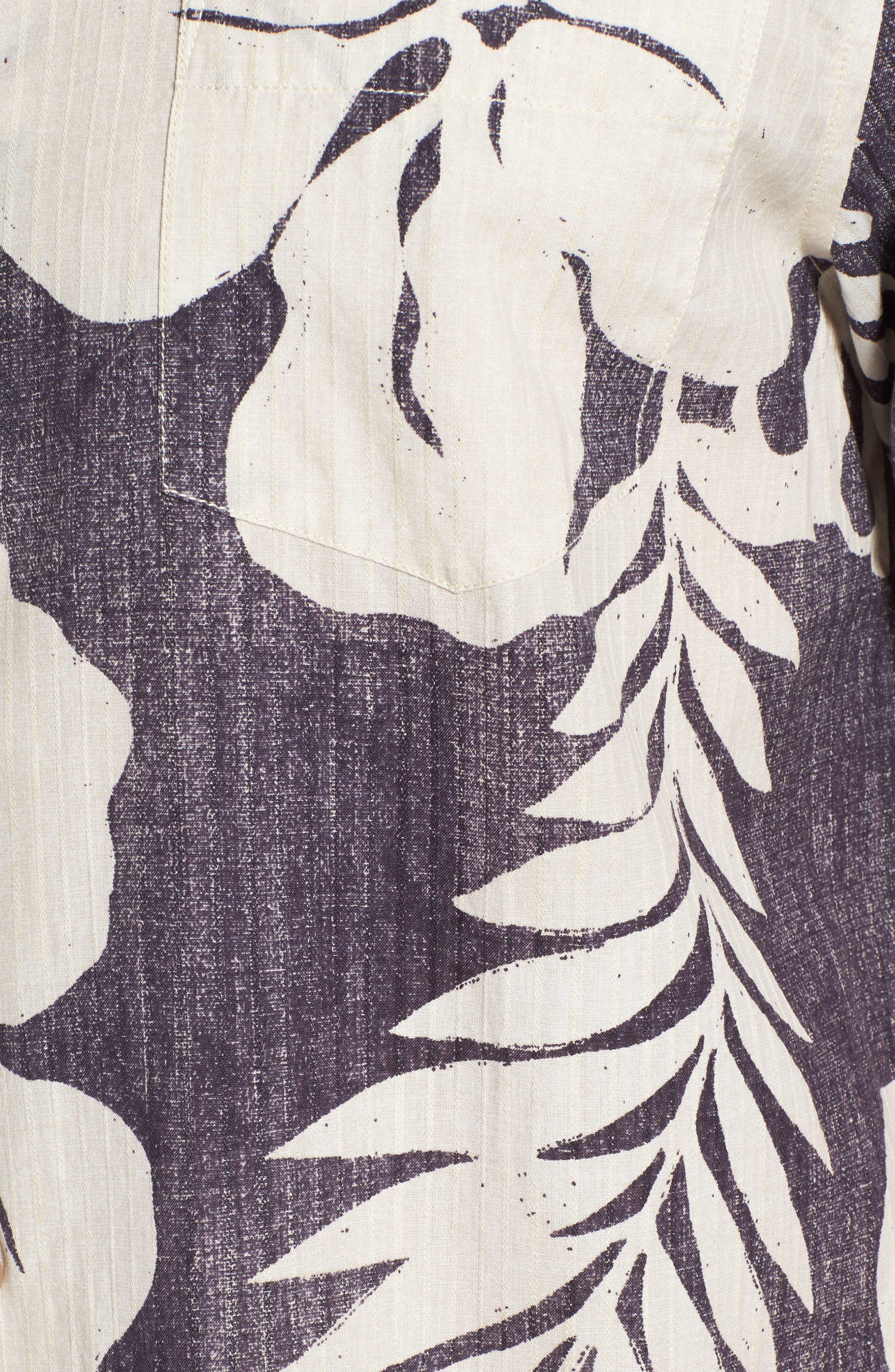 Hialeah Hibiscus Camp Shirt,                             Alternate thumbnail 5, color,                             Steel Wool