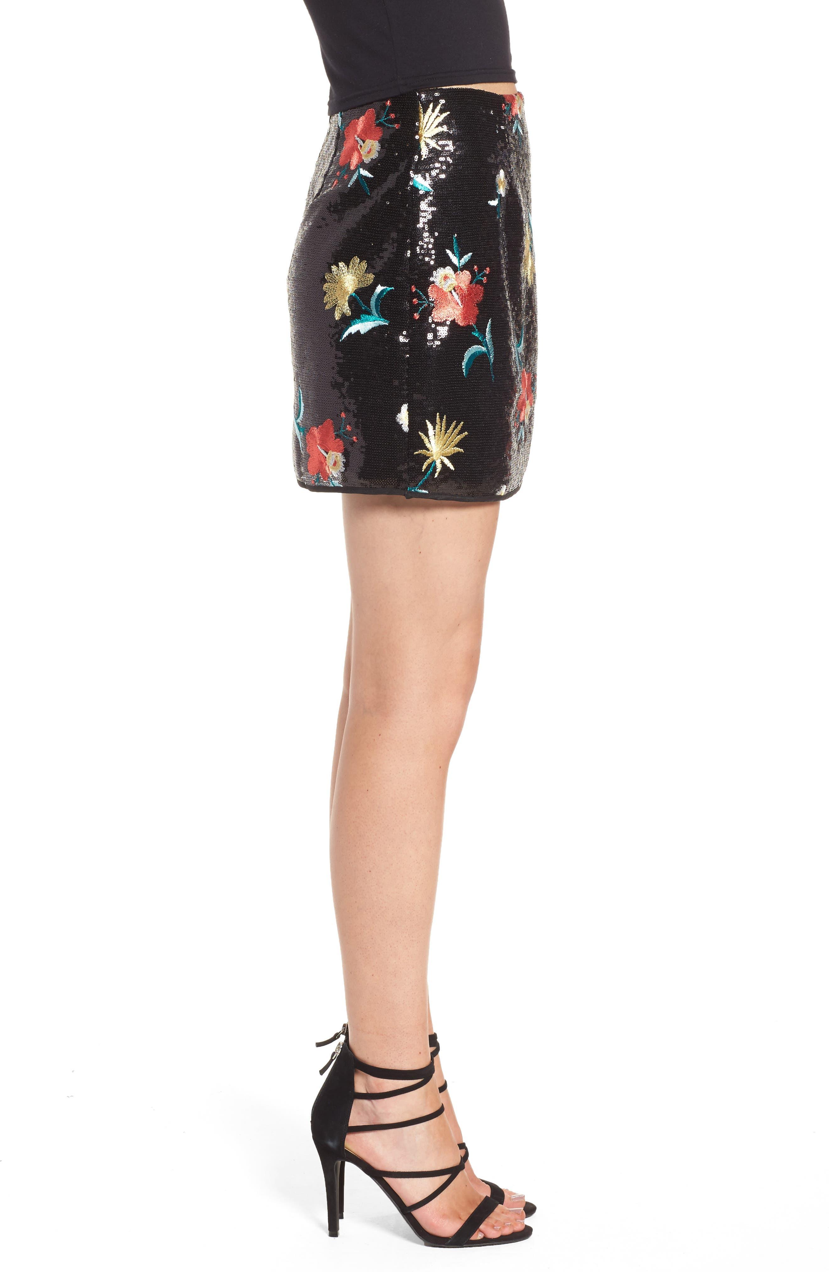 Noma Sequin Miniskirt,                             Alternate thumbnail 4, color,                             Black
