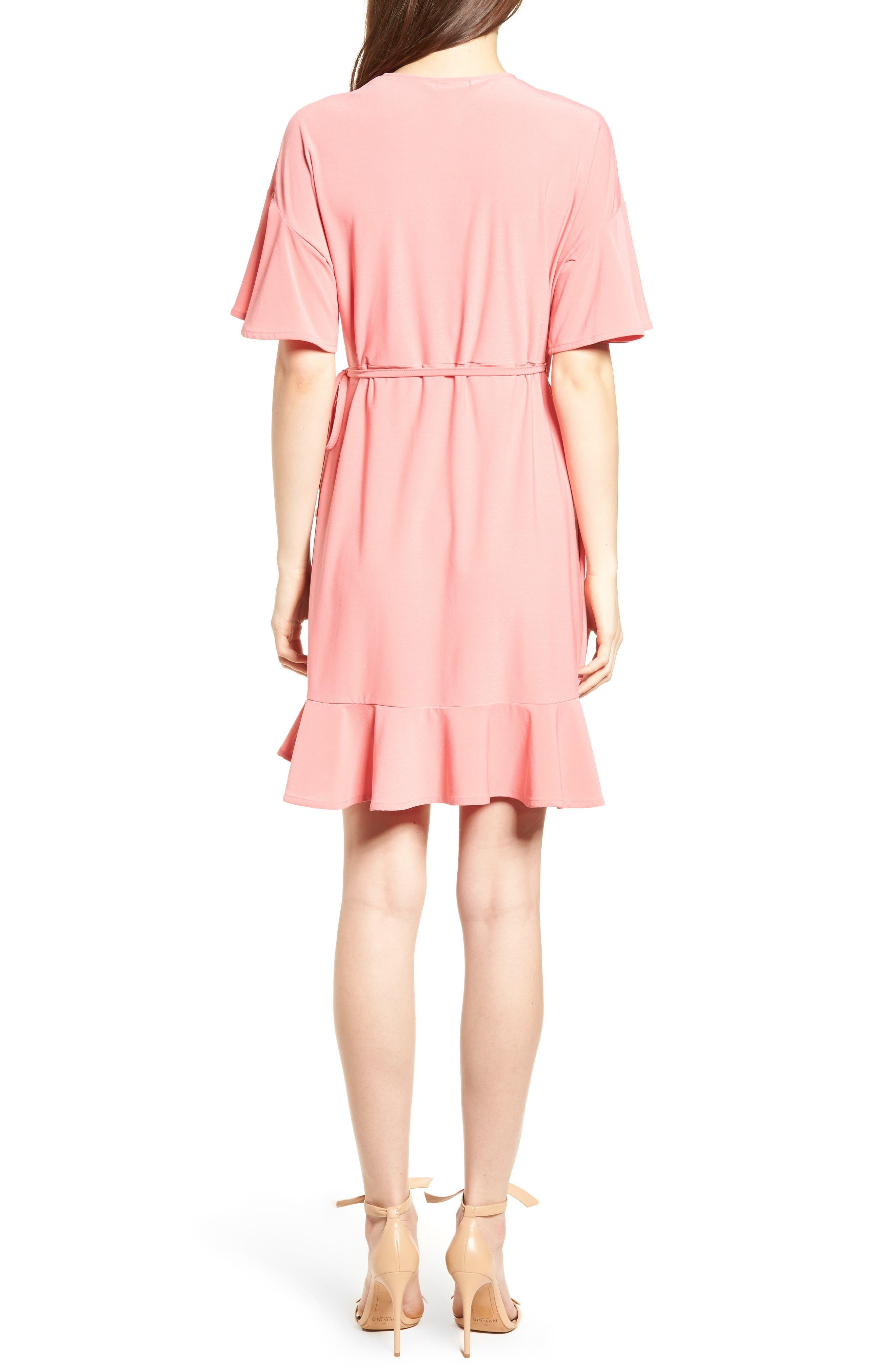 Flounce Sleeve Wrap Dress,                             Alternate thumbnail 2, color,                             Coral Rose Tea
