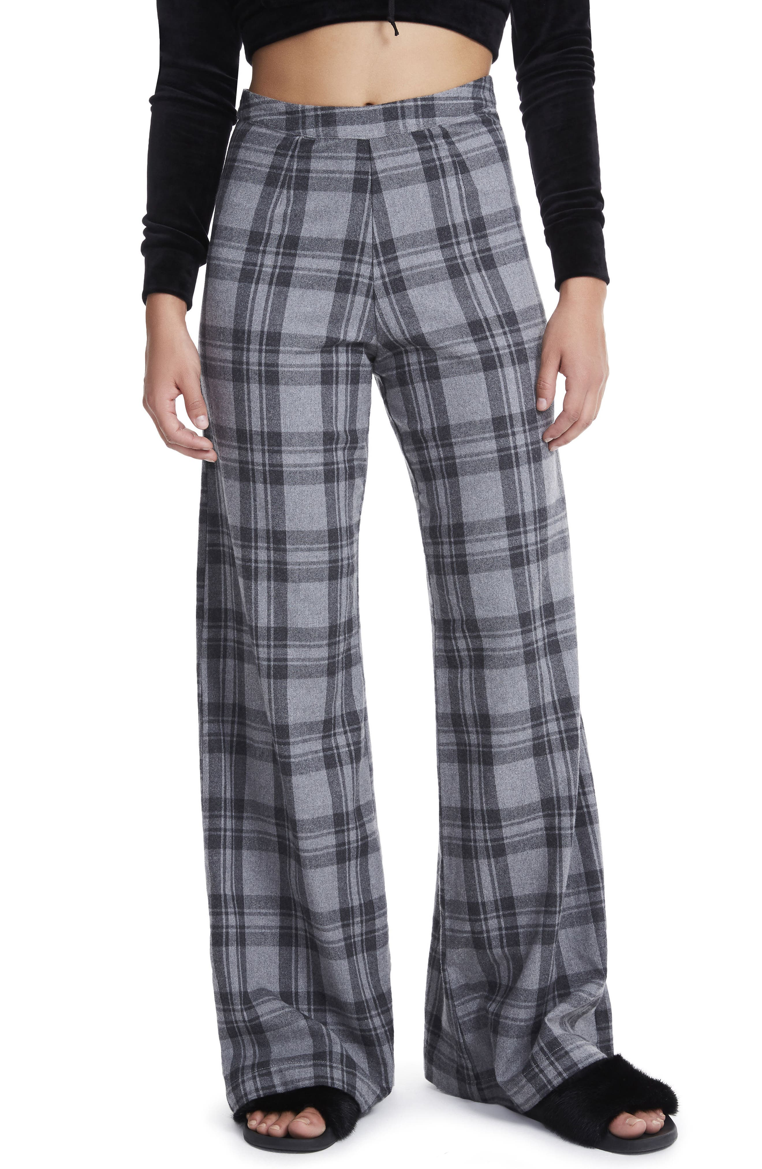 Carter High Waist Wide Leg Pants,                         Main,                         color, Grey Plaid