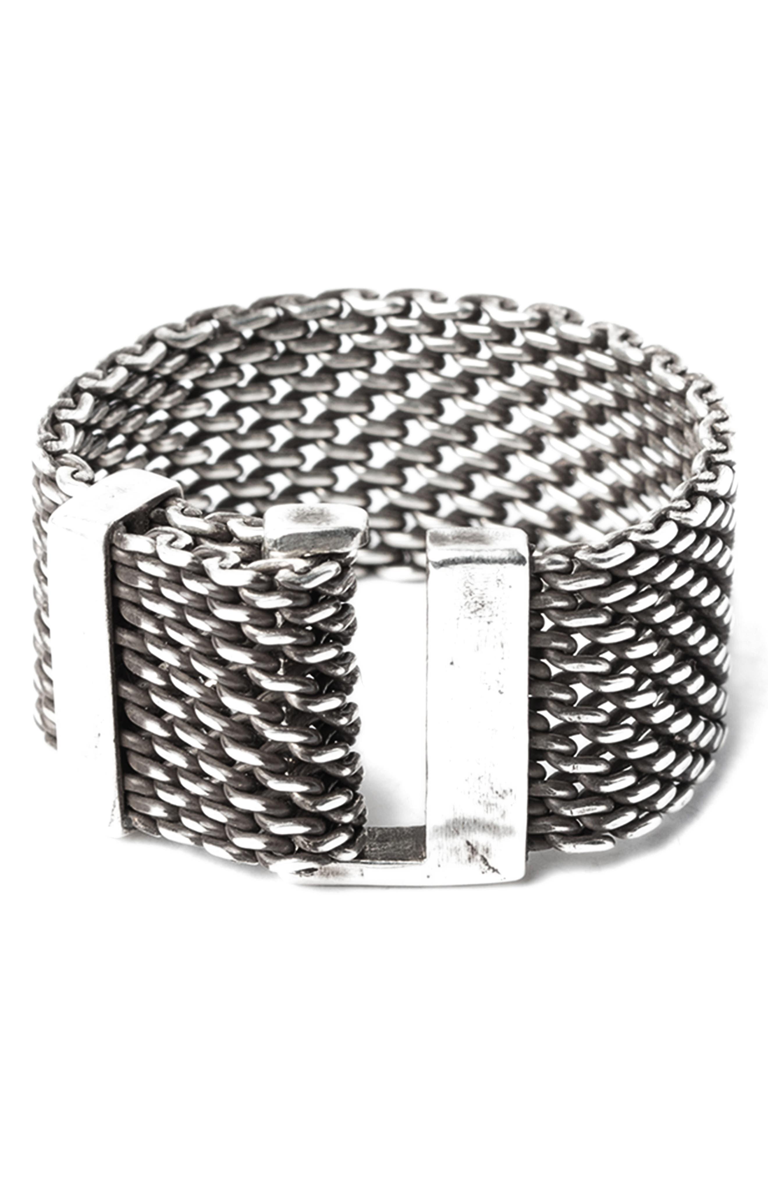 Macro Adjustable Mesh Ring,                             Main thumbnail 1, color,                             Silver