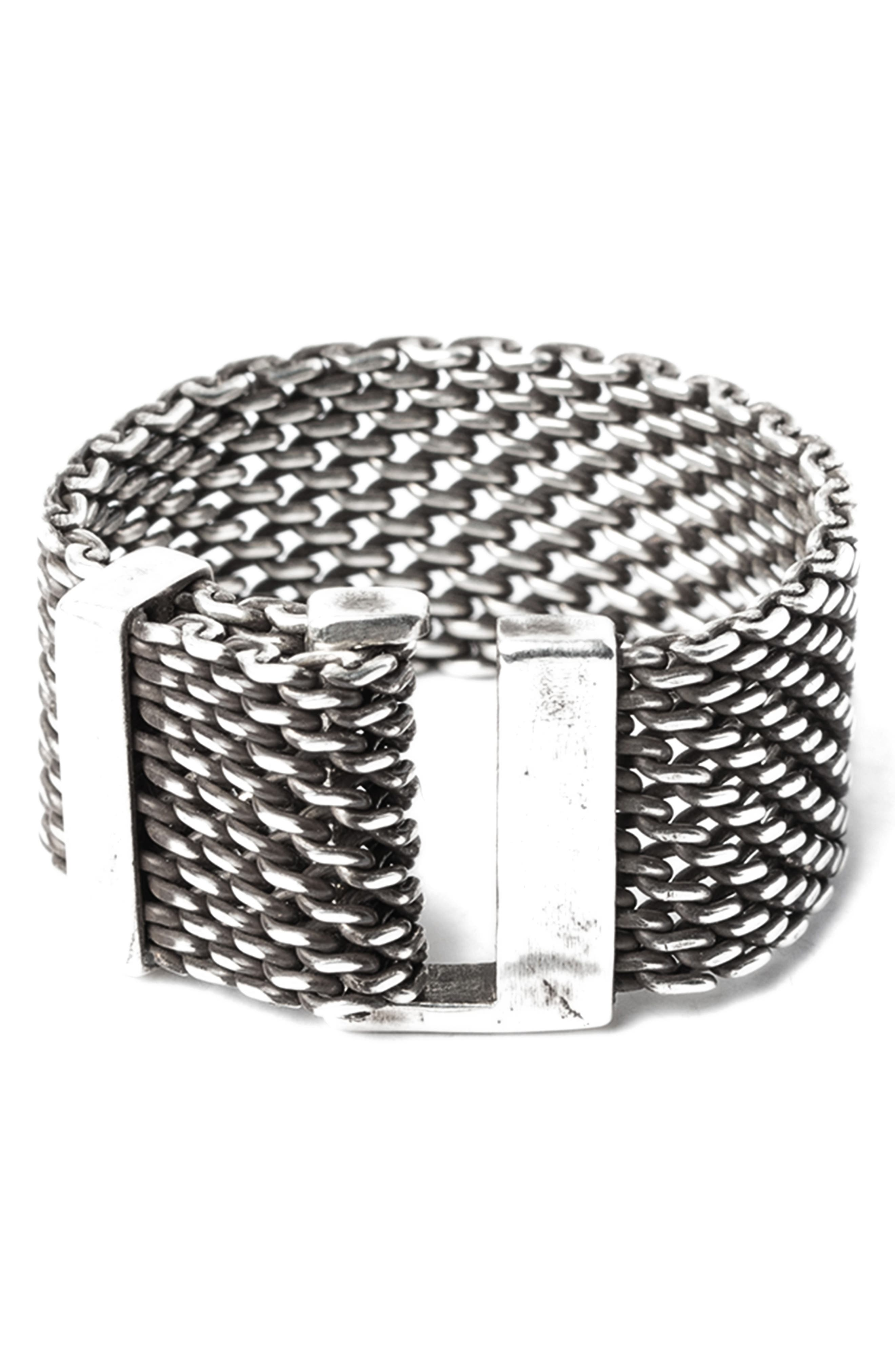 Macro Adjustable Mesh Ring,                         Main,                         color, Silver