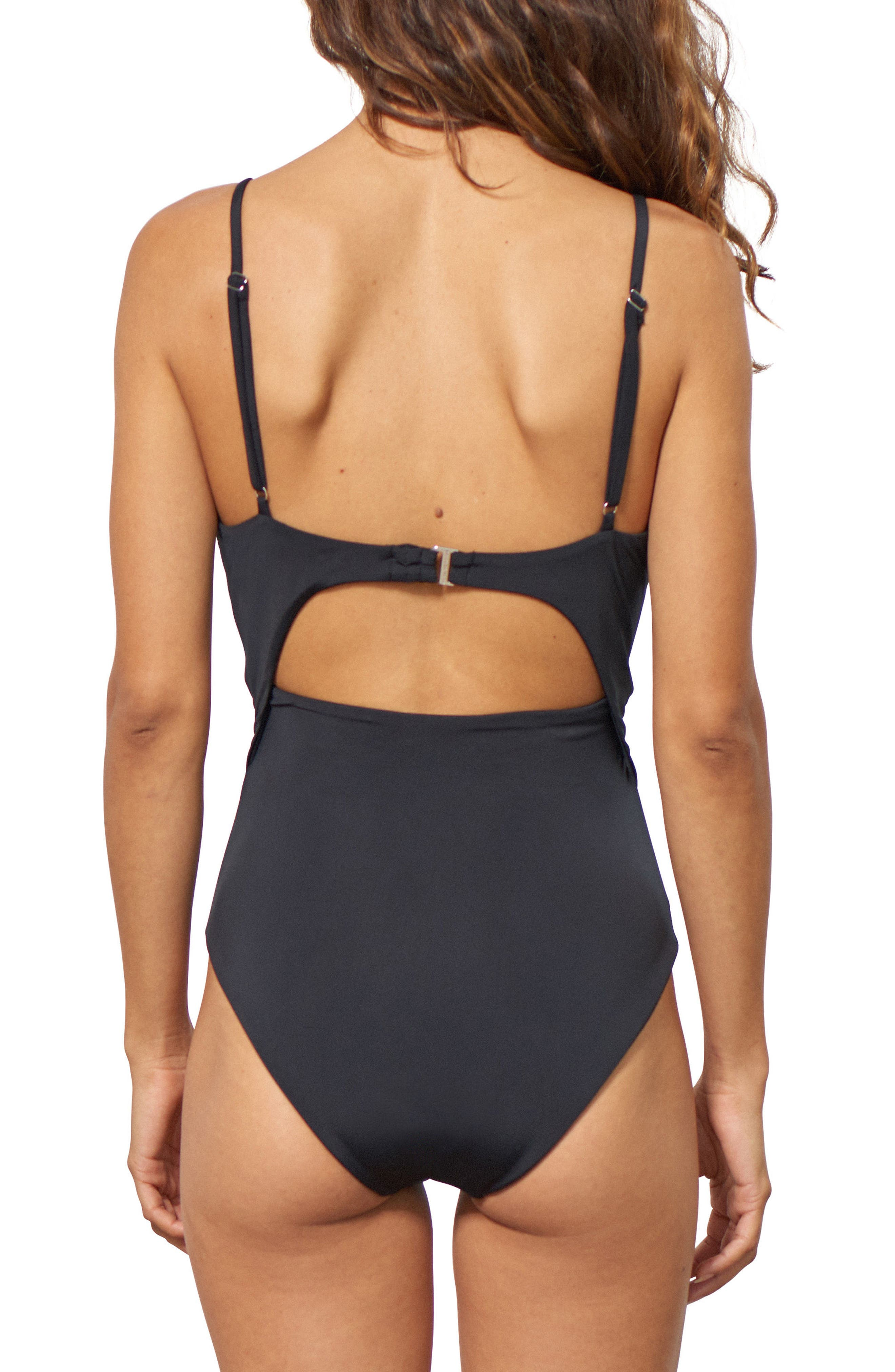 Kia Cutout One-Piece Swimsuit,                             Alternate thumbnail 2, color,                             Black