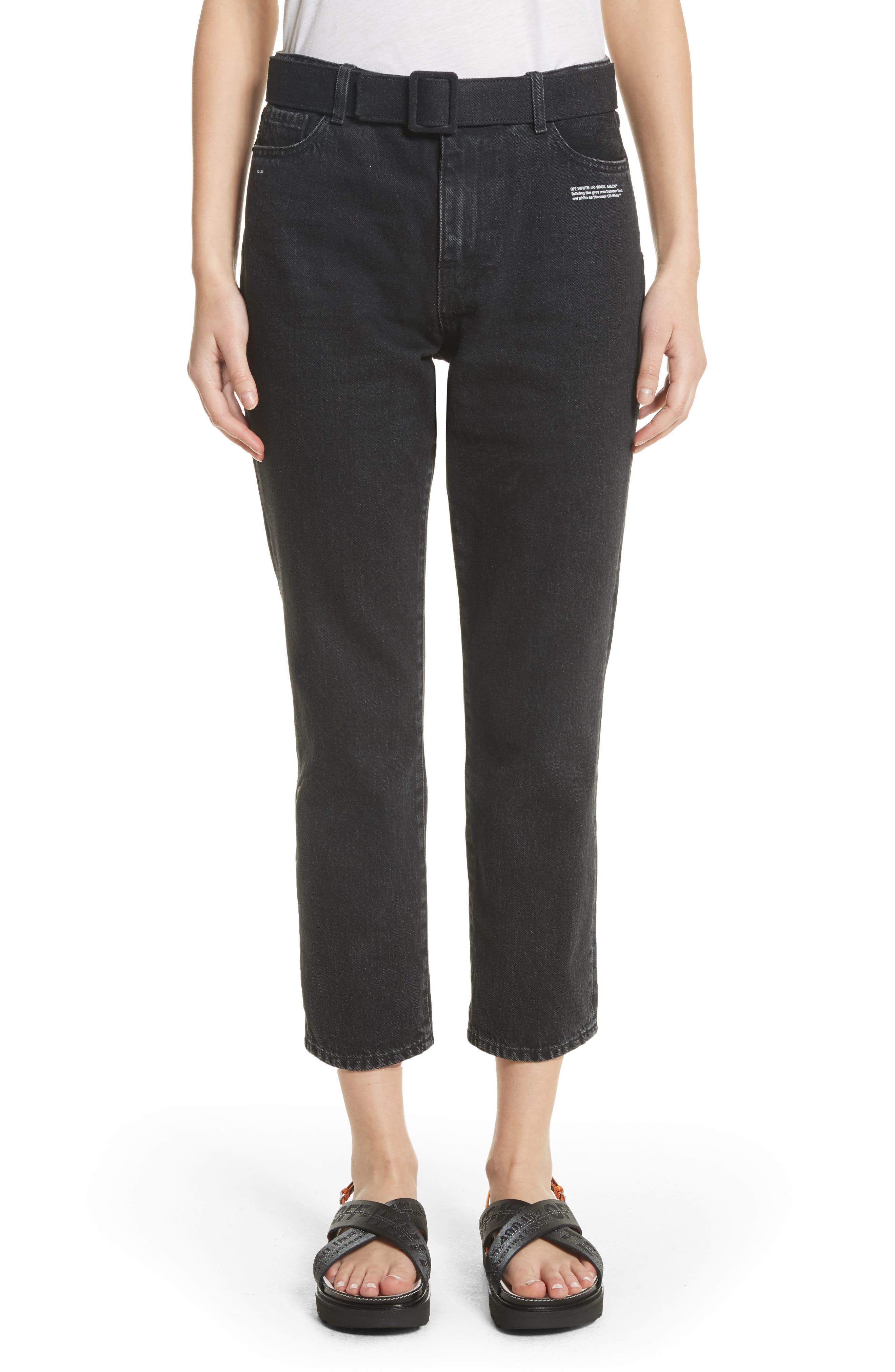 Belted Jeans,                             Main thumbnail 1, color,                             Black Vintage Bla