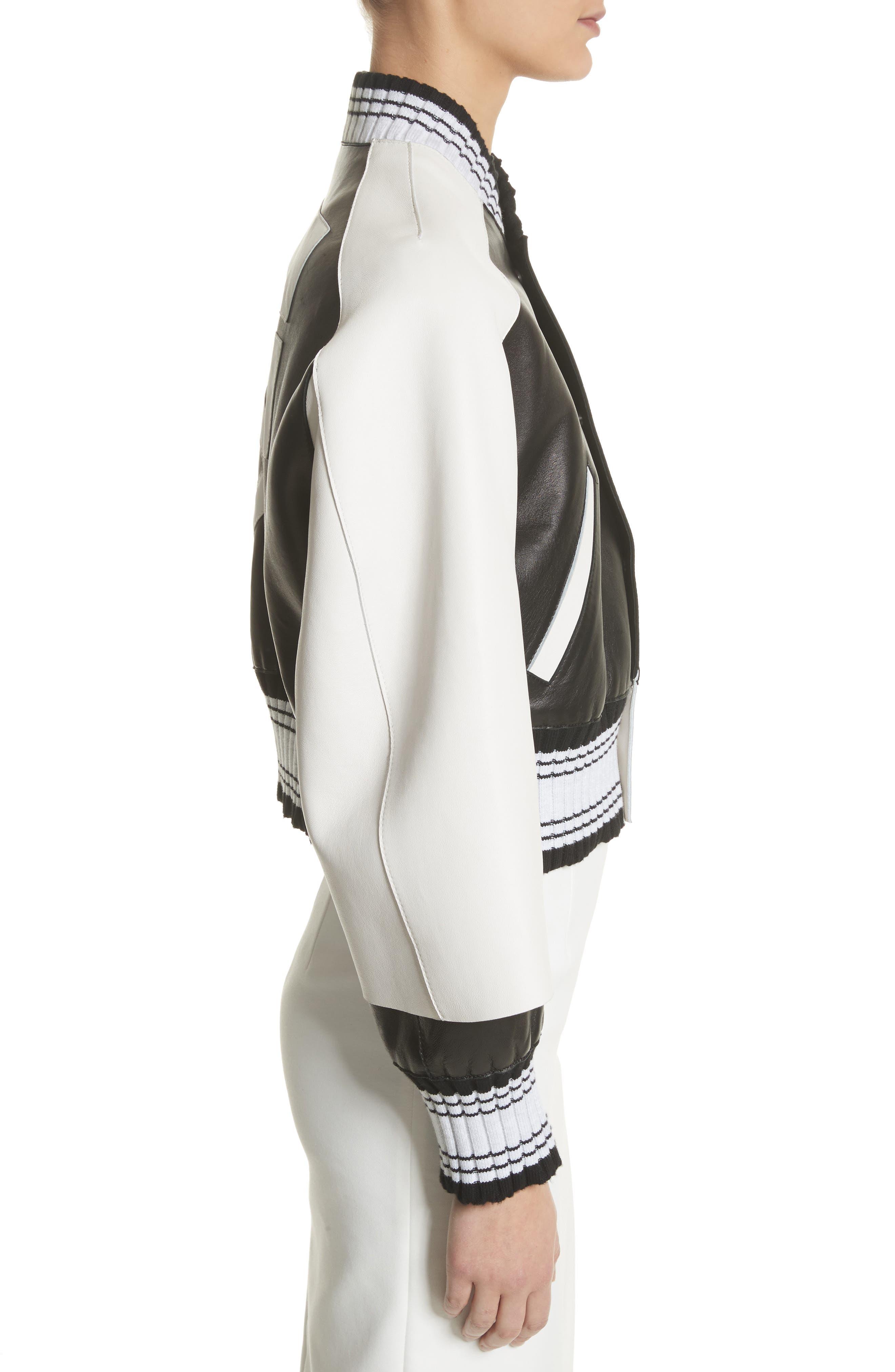 Crop Varsity Jacket,                             Alternate thumbnail 3, color,                             Multicolor White