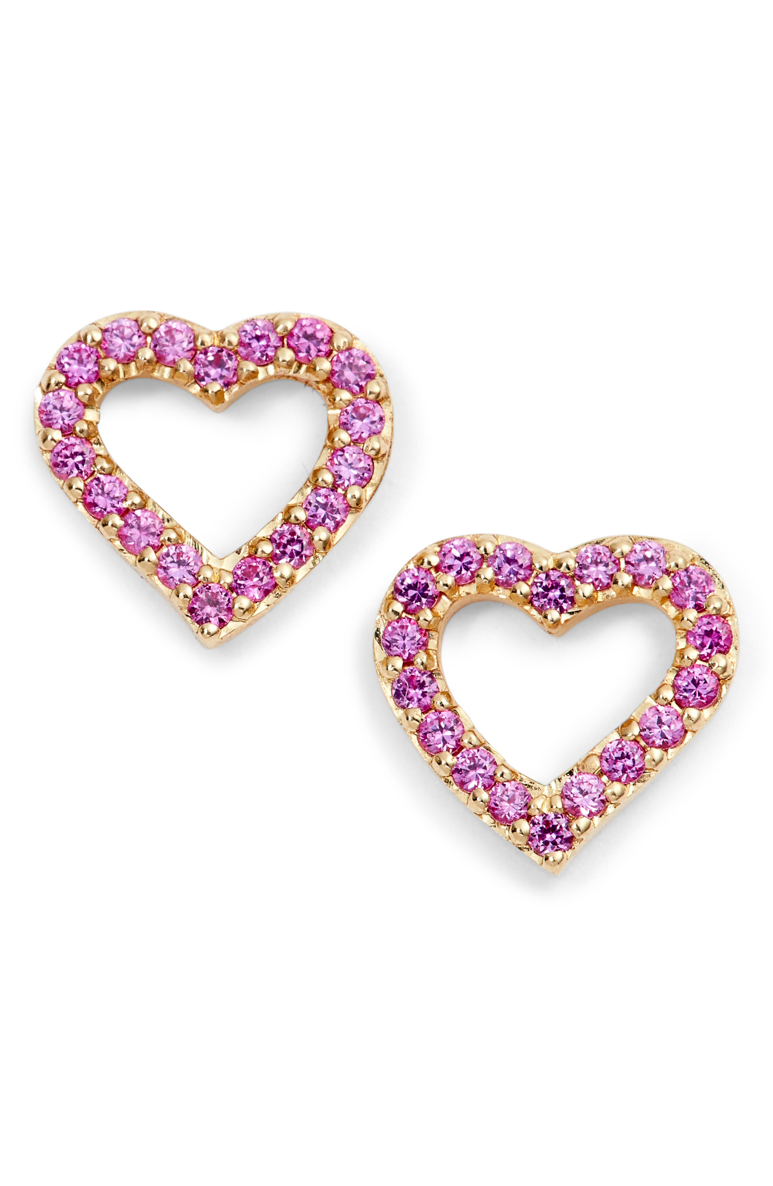 Mini Heart Sapphire Stud Earrings,                             Main thumbnail 1, color,                             Yellow Gold