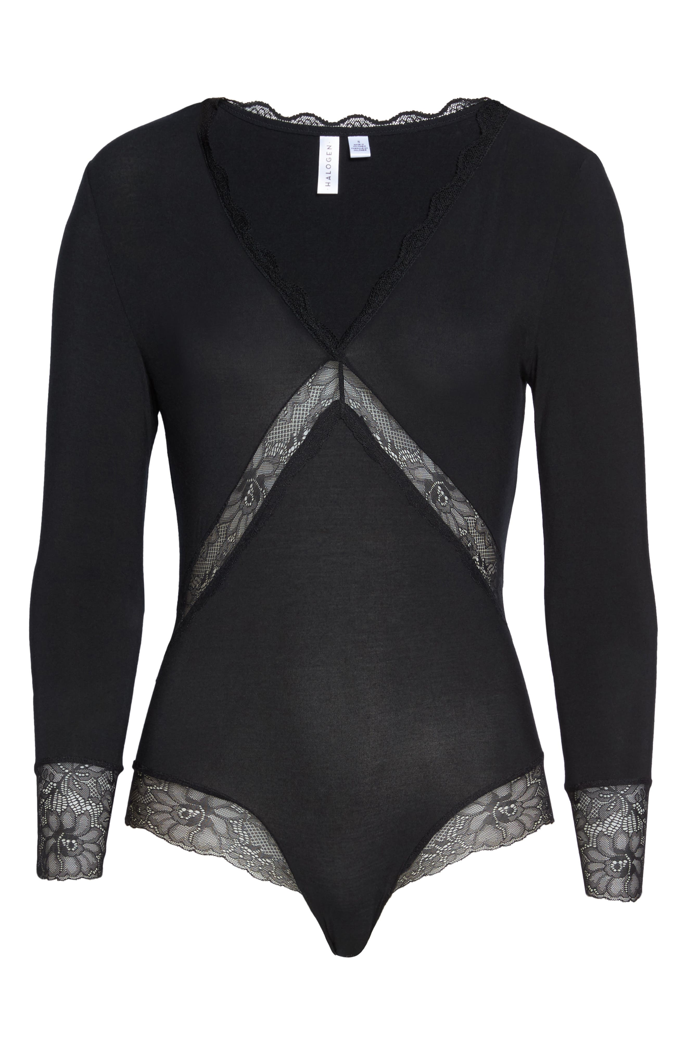 Giselle Lace Bodysuit,                             Alternate thumbnail 4, color,                             Black