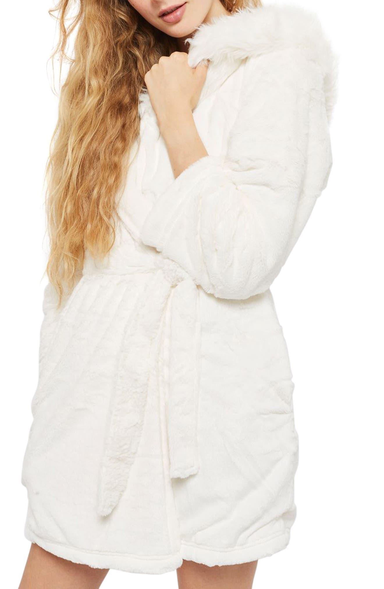Faux Fur Hooded Short Robe,                             Main thumbnail 1, color,                             Cream