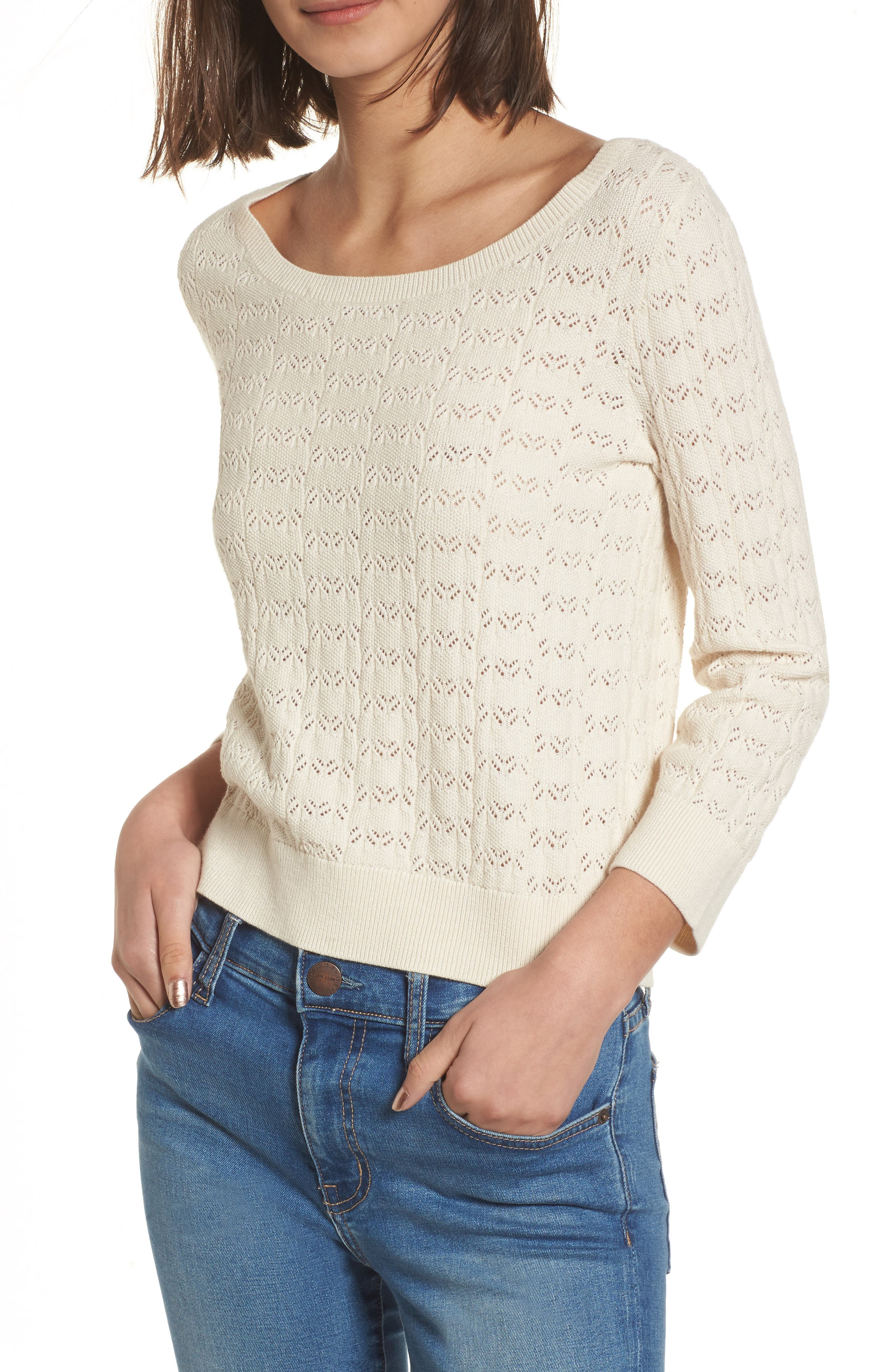 Pointelle Crop Sweater,                             Main thumbnail 1, color,                             Ivory Birch