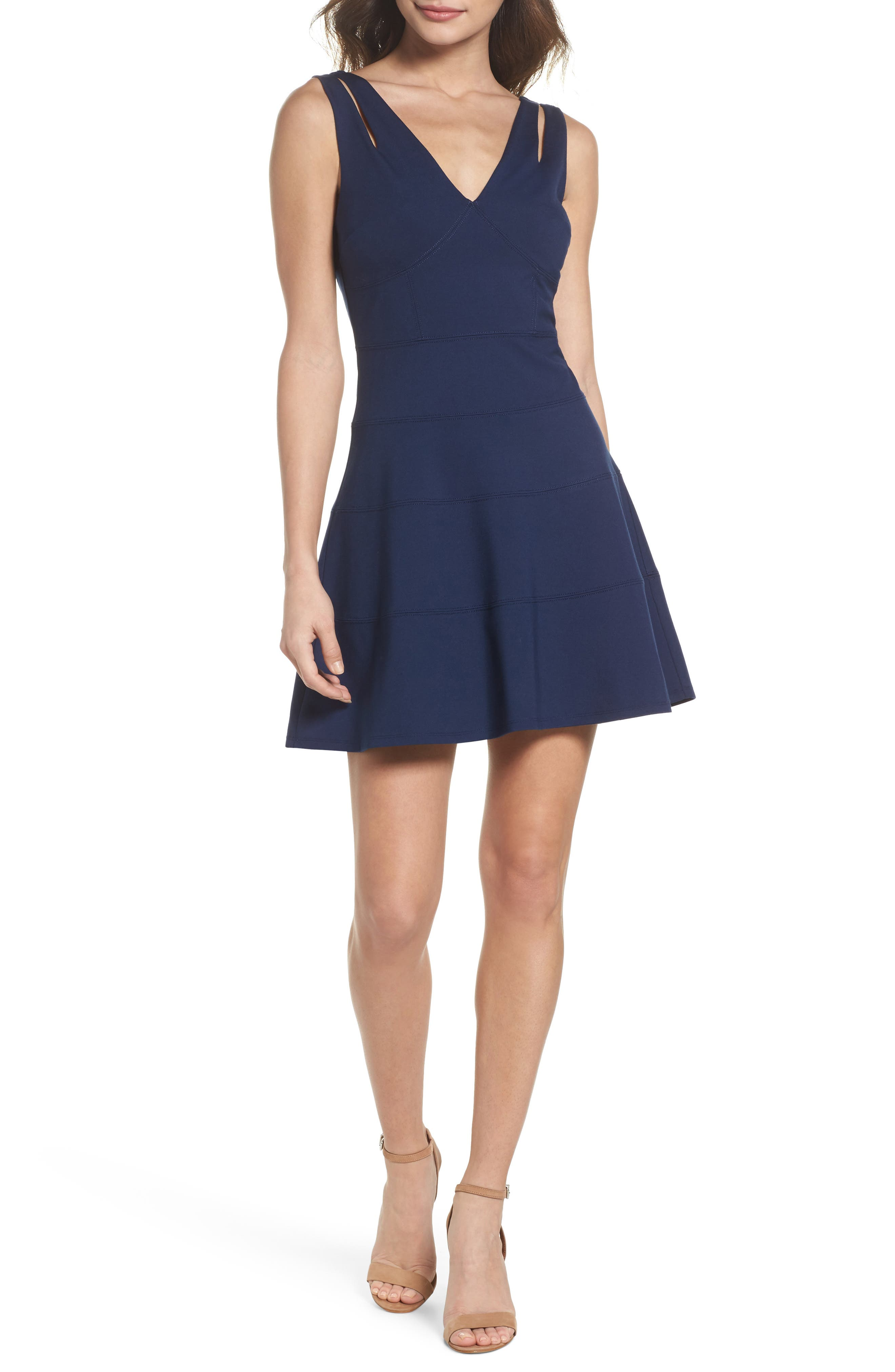 Lace Back Fit & Flare Dress,                             Main thumbnail 1, color,                             Navy