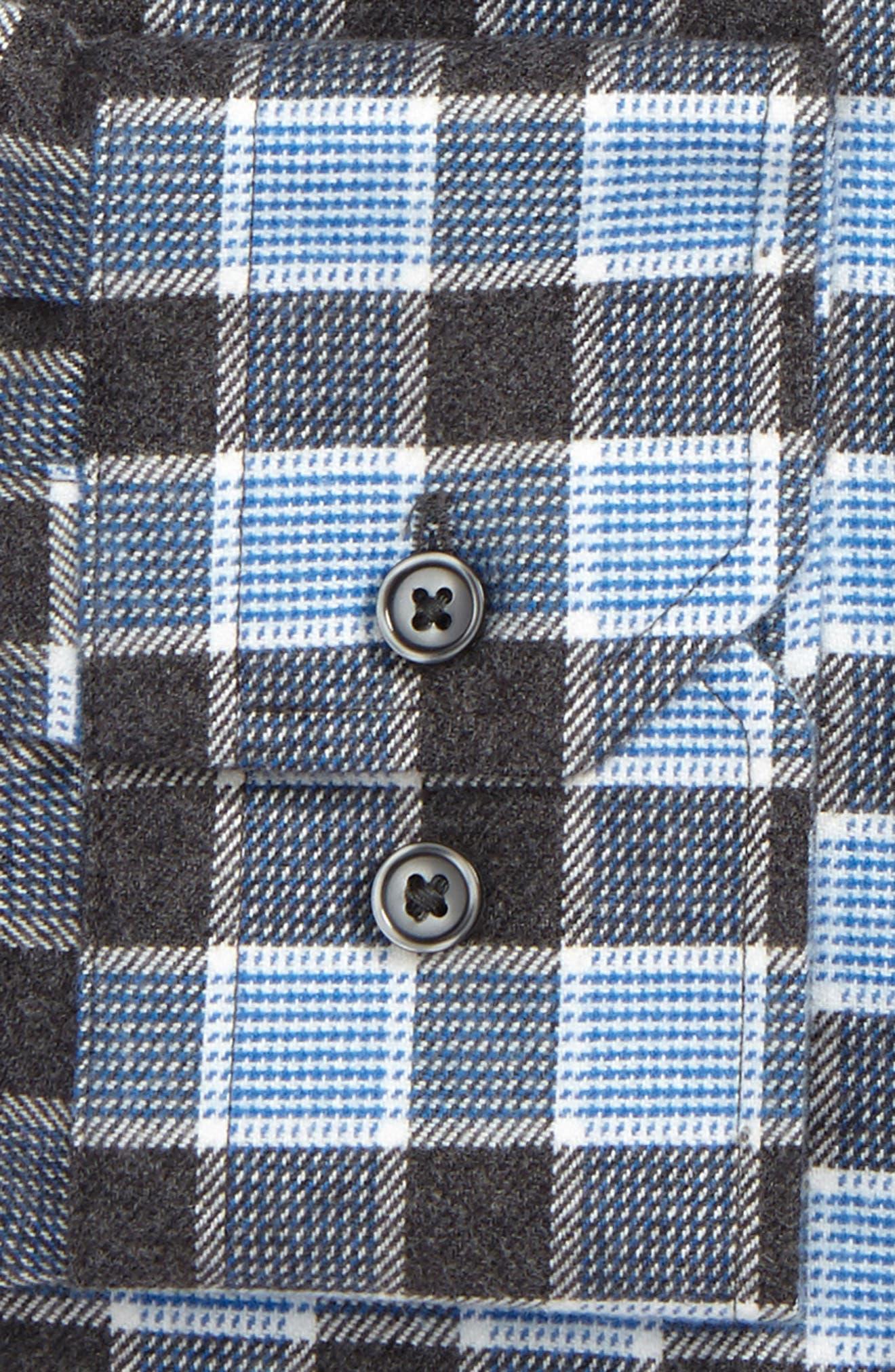 Trim Fit Non-Iron Plaid Dress Shirt,                             Alternate thumbnail 2, color,                             Grey Stonehenge