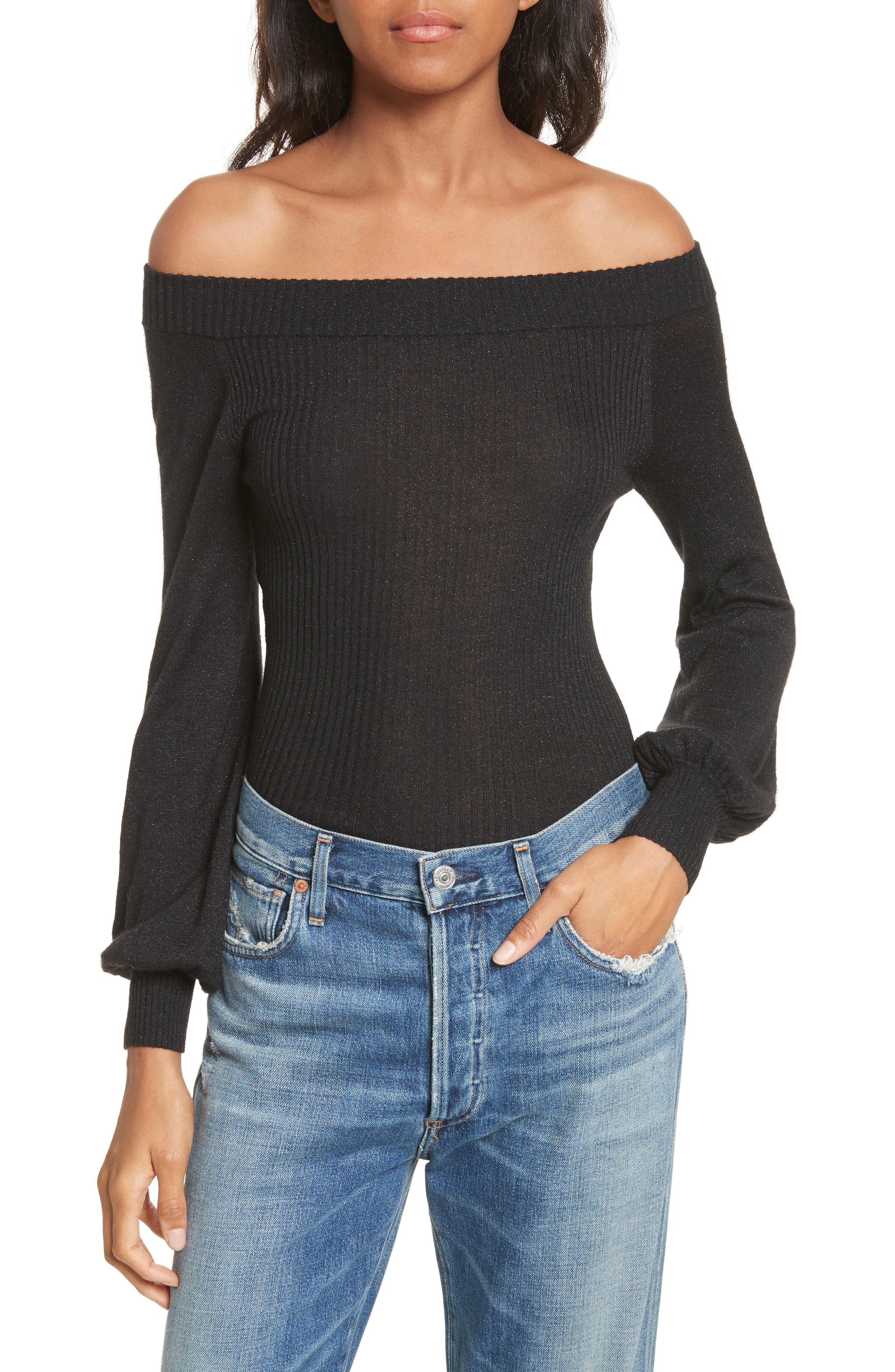 autumn cashmere Metallic Cashmere & Silk Blend Off the Shoulder Top
