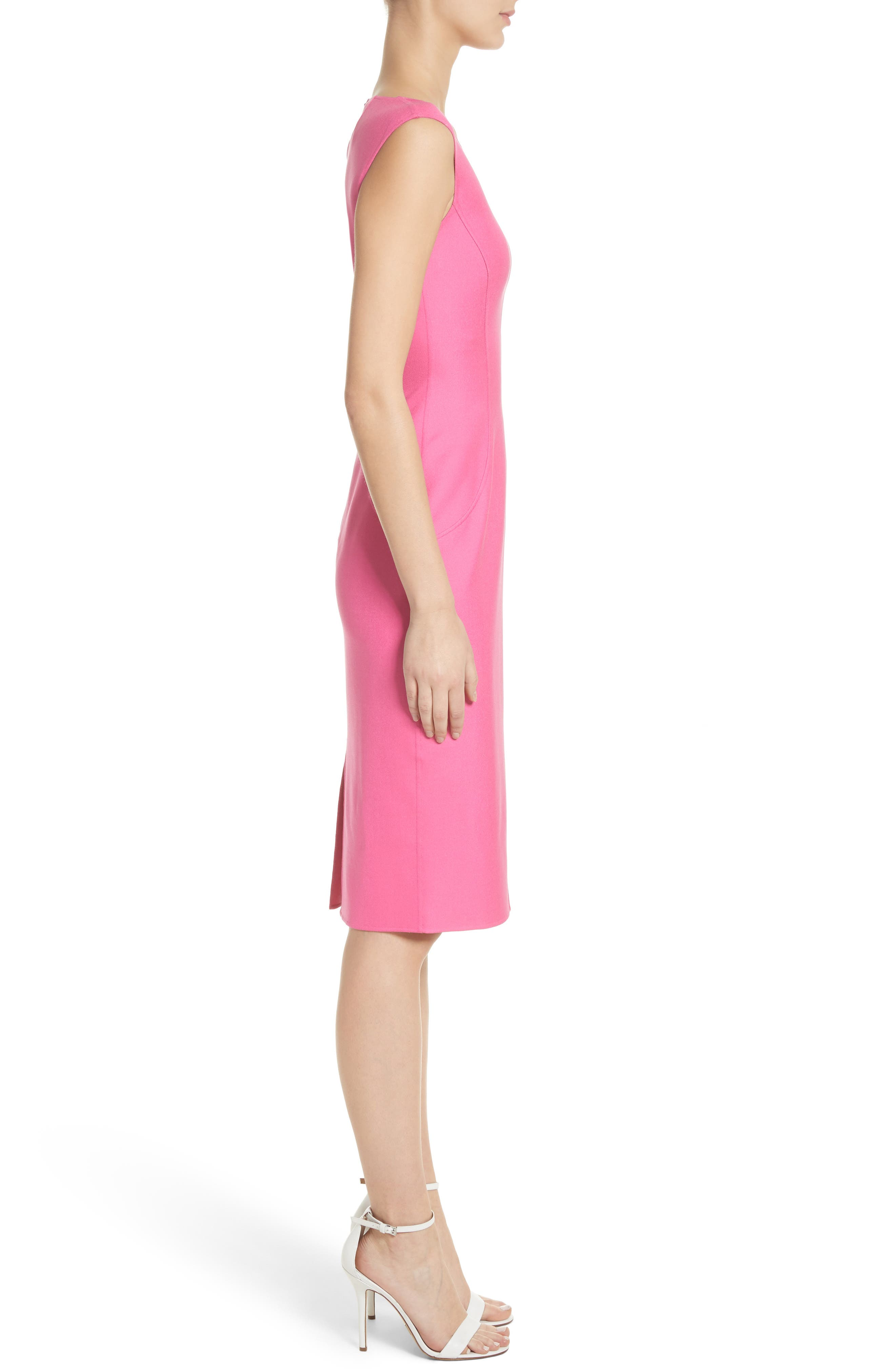 Silk Blend Sheath Dress,                             Alternate thumbnail 3, color,                             Carnation