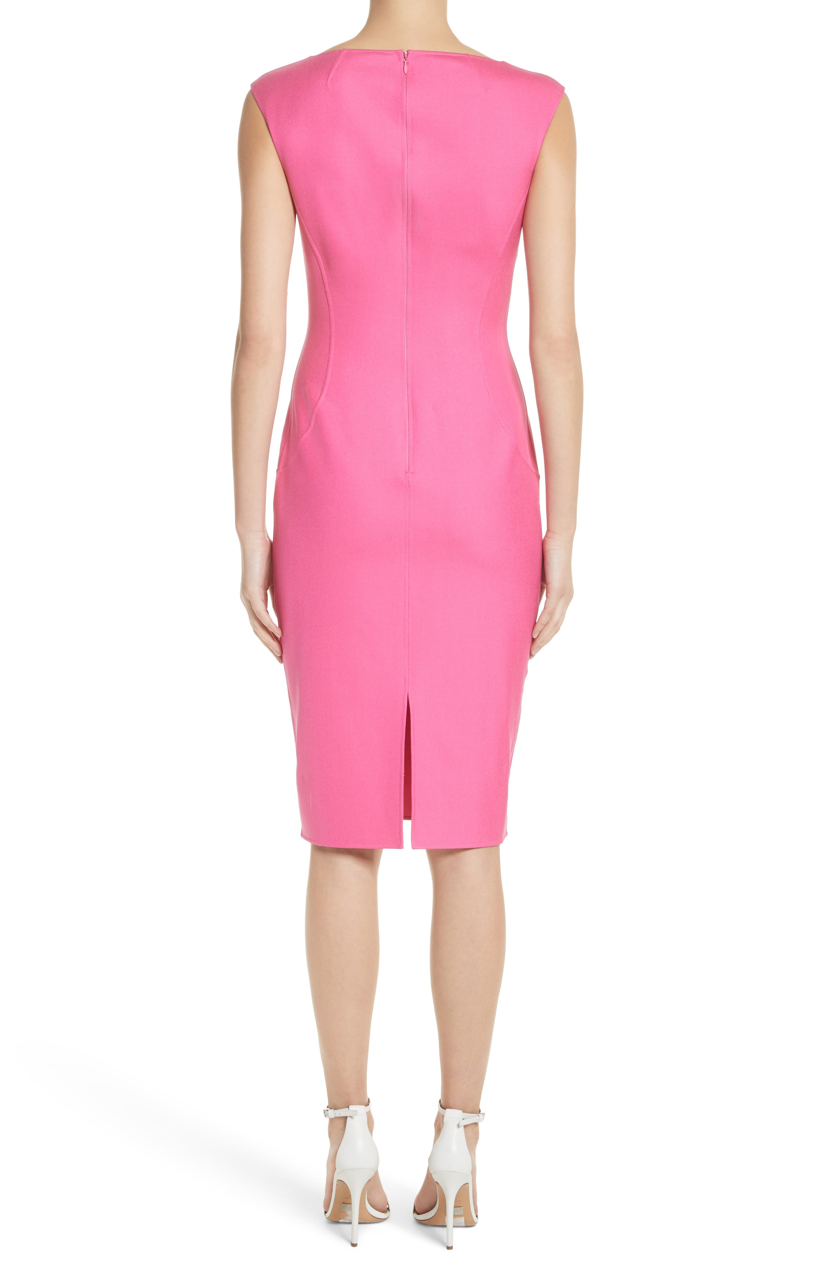 Silk Blend Sheath Dress,                             Alternate thumbnail 2, color,                             Carnation