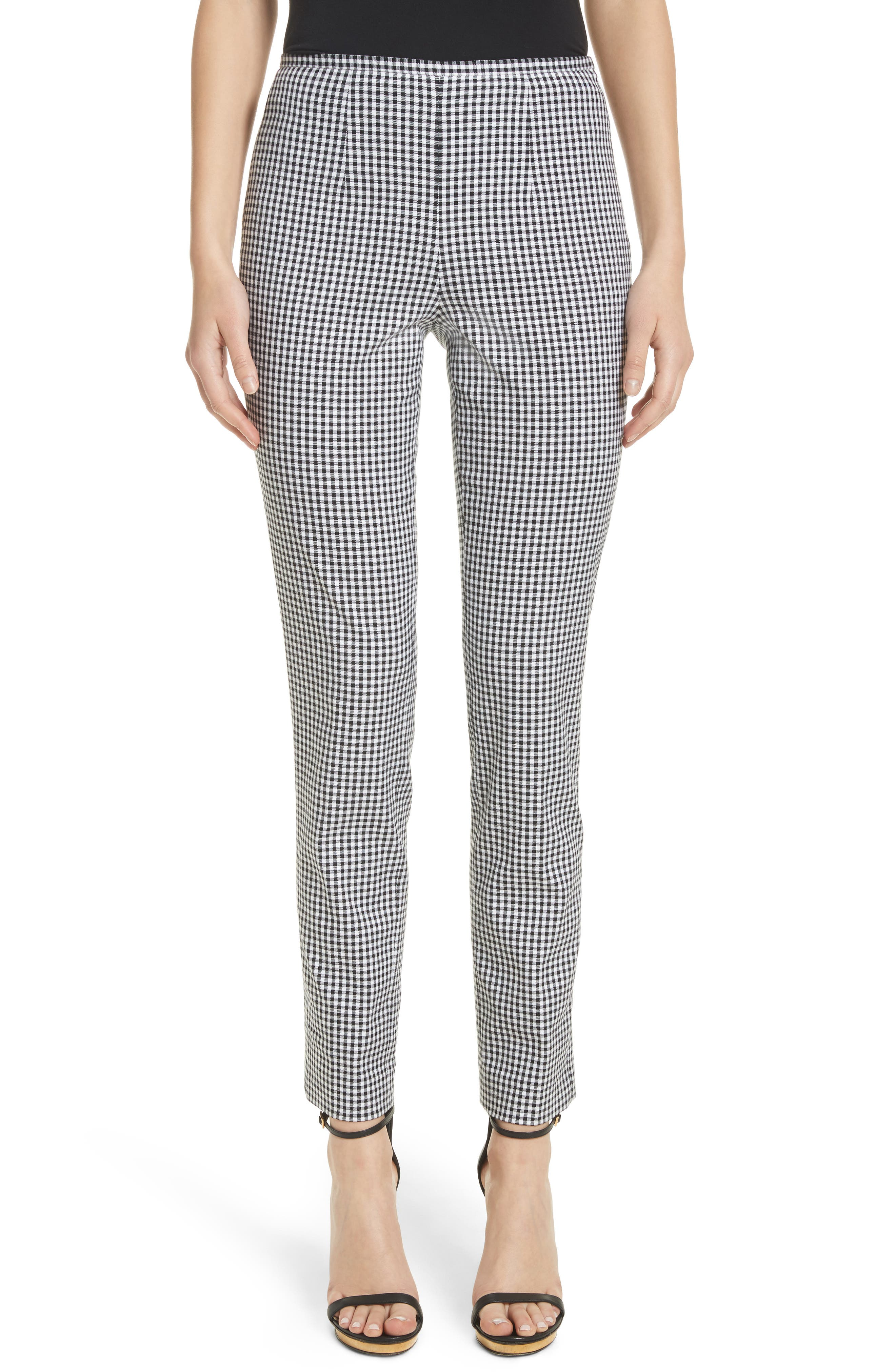 Gingham Stretch Cotton Pants,                         Main,                         color, Black / White