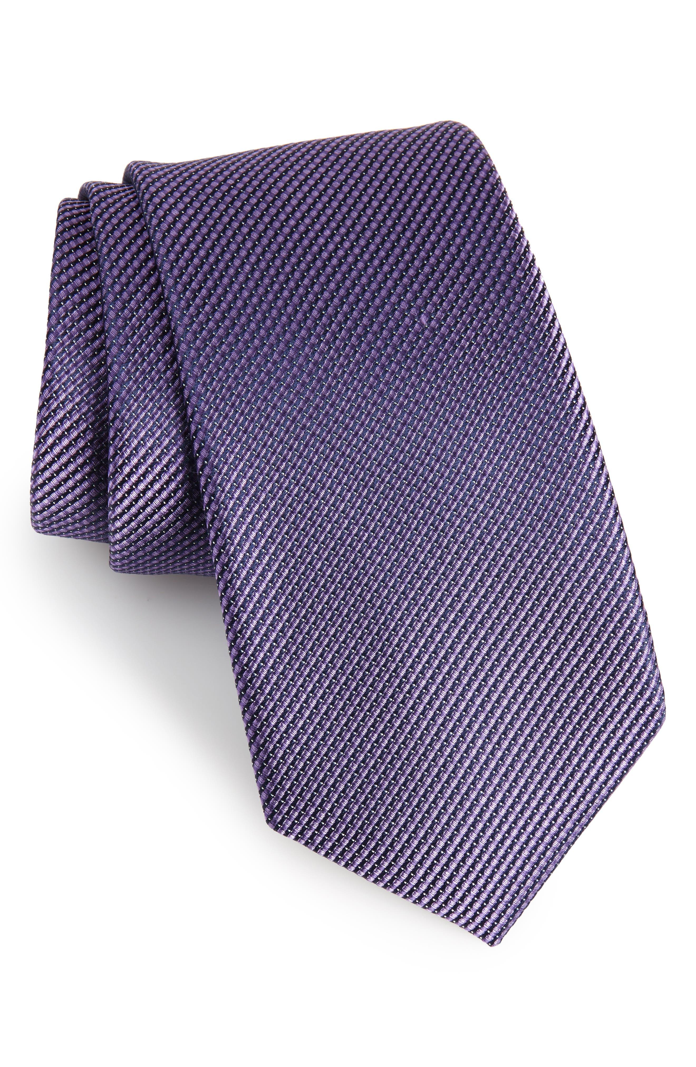 Amsberry Microcheck Silk Tie,                         Main,                         color, Lilac