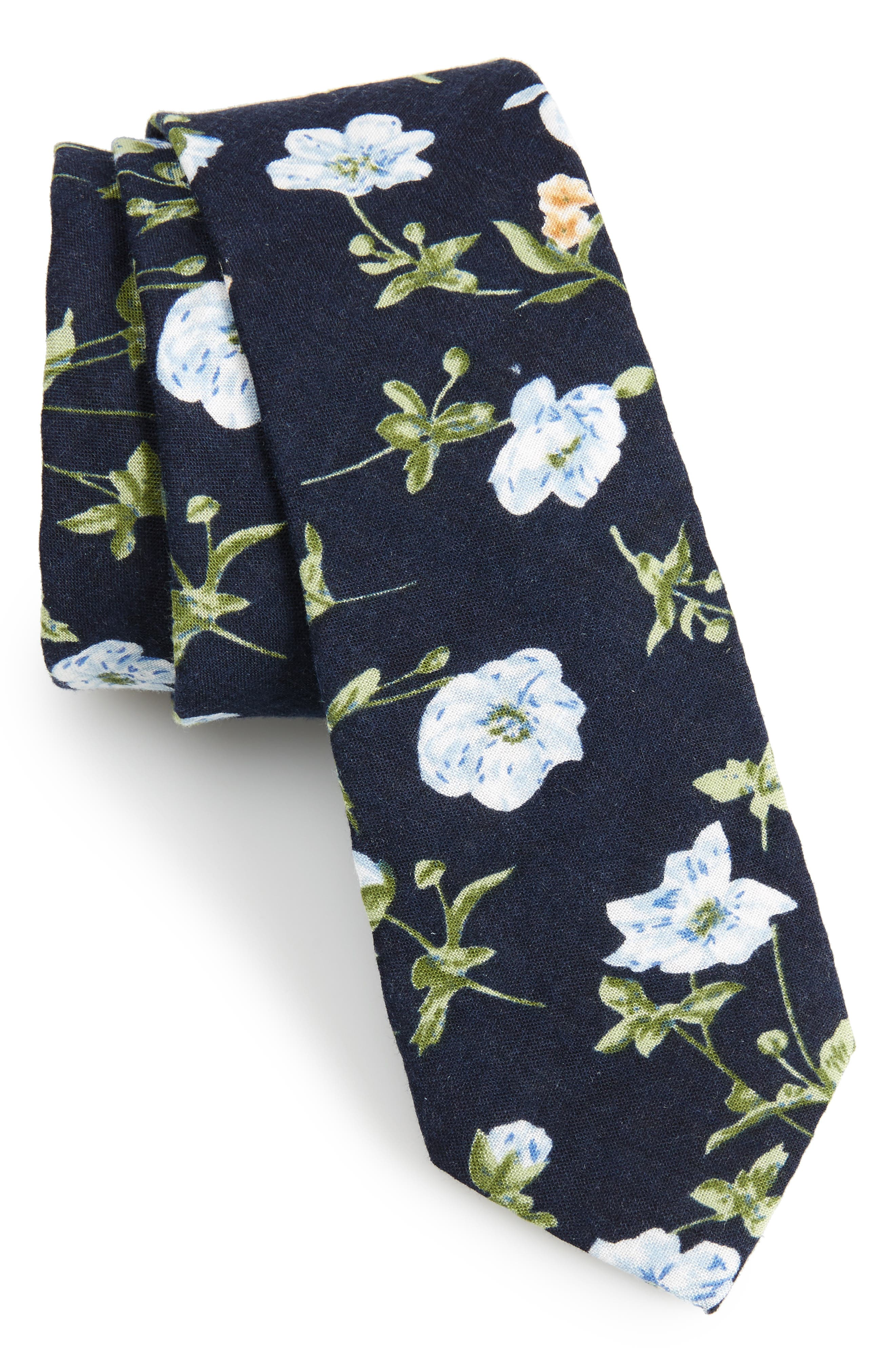 1901 Nunley Floral Cotton Skinny Tie