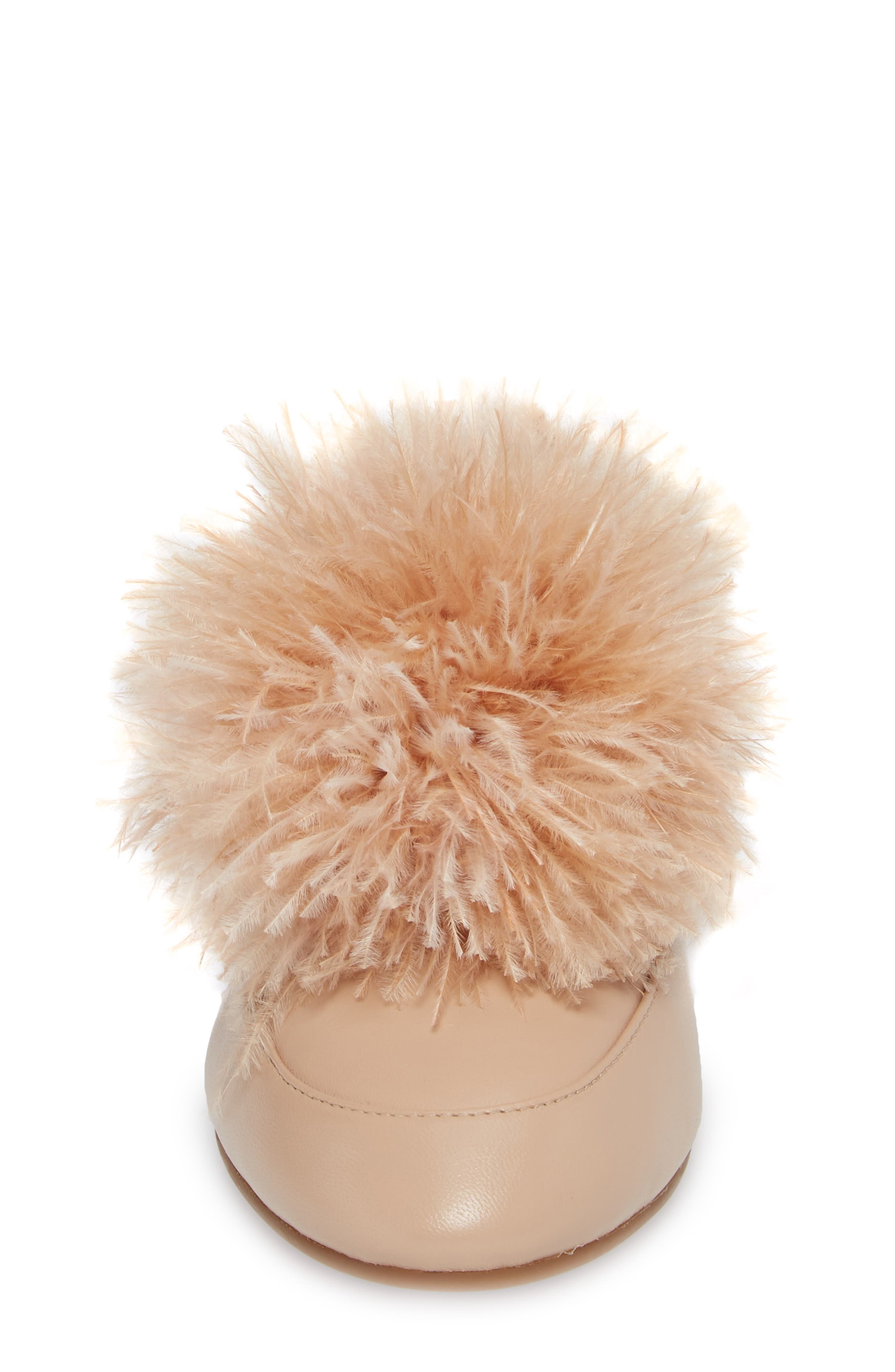 Fara Feather Pom Loafer,                             Alternate thumbnail 4, color,                             Oyster Nappa Leather