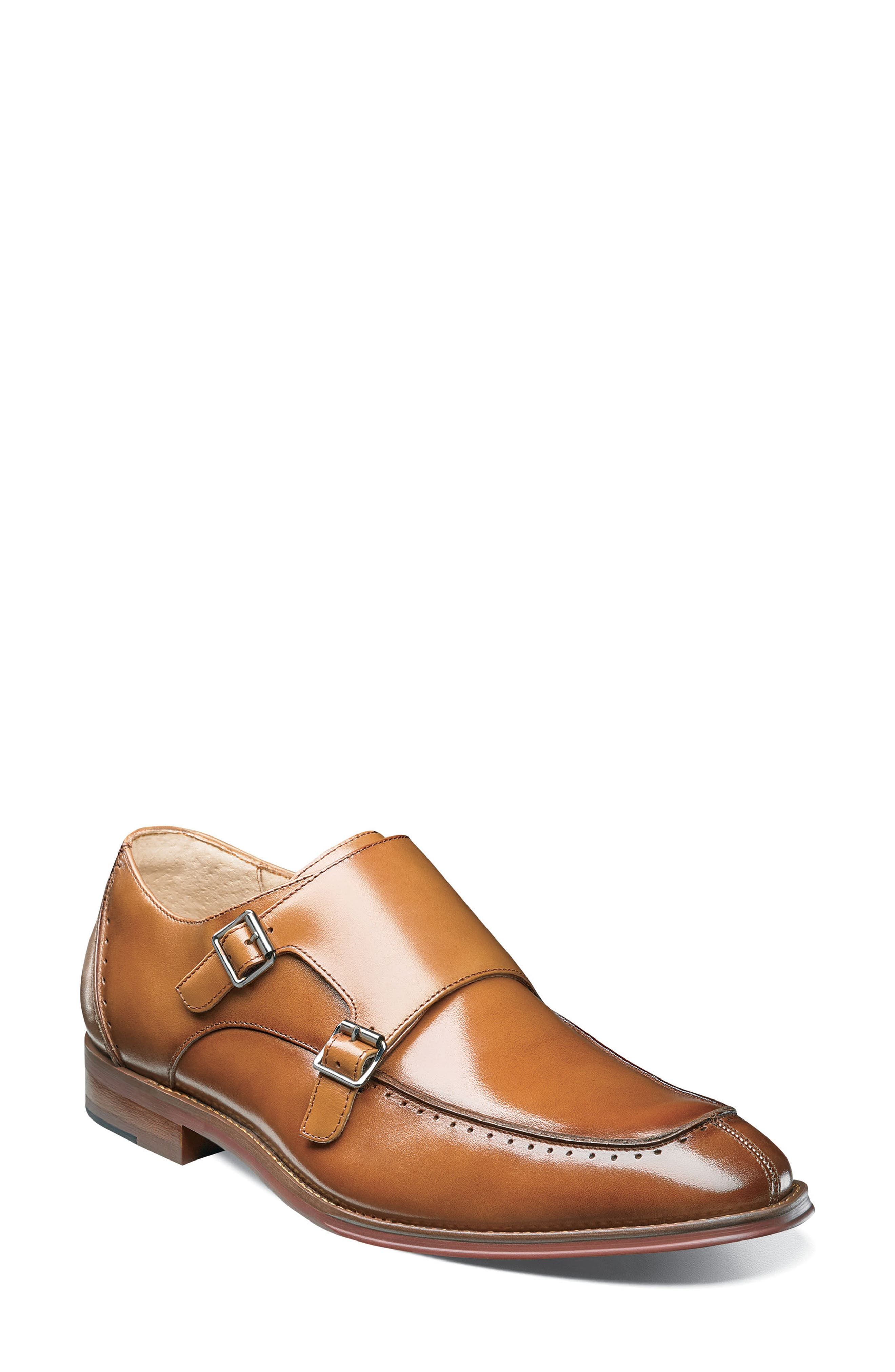Baldwin Double Monk Strap Slip-On,                         Main,                         color, Tan Leather