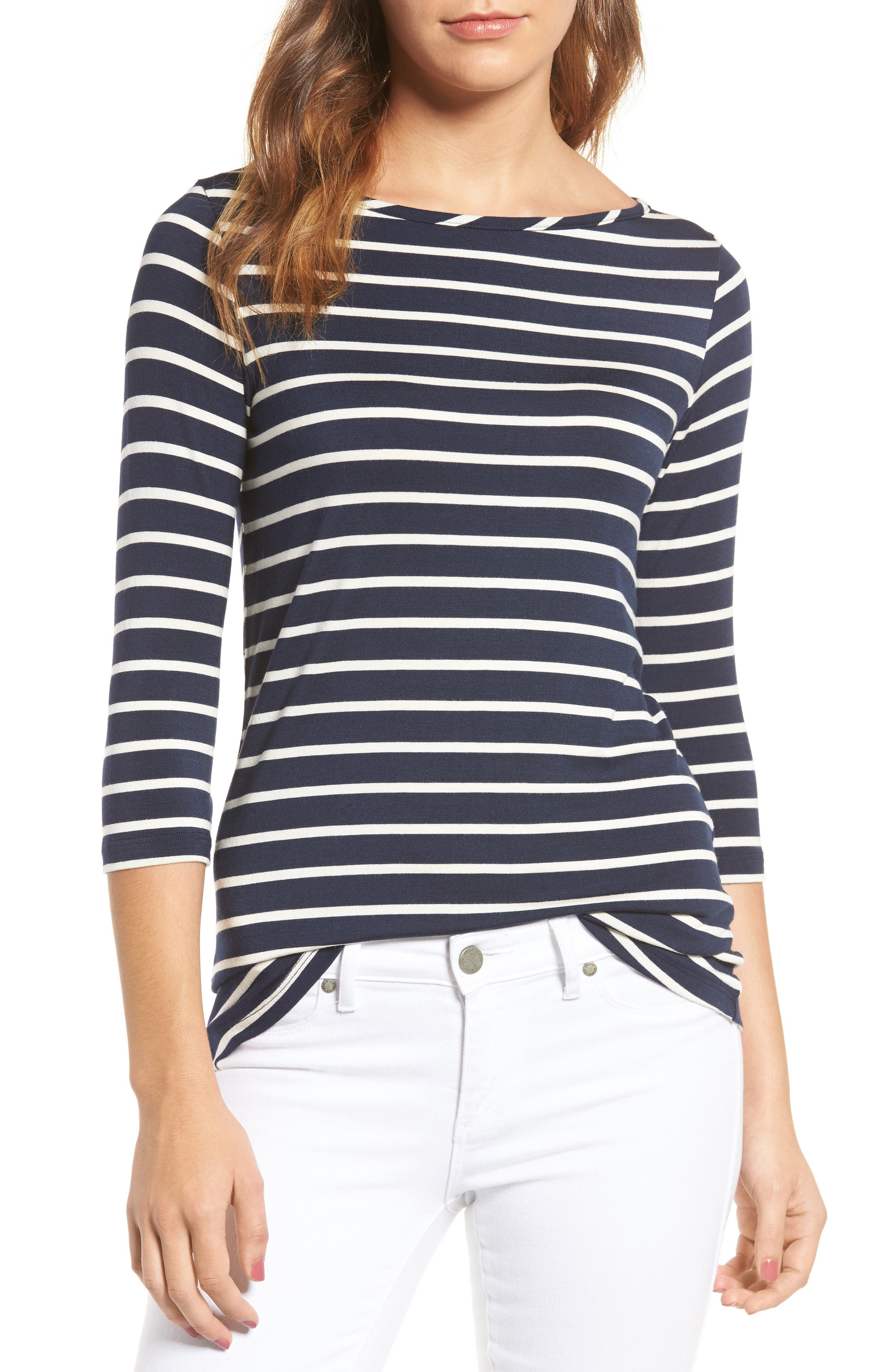 AMOUR VERT Francoise Stretch Jersey Top in Basque Stripe