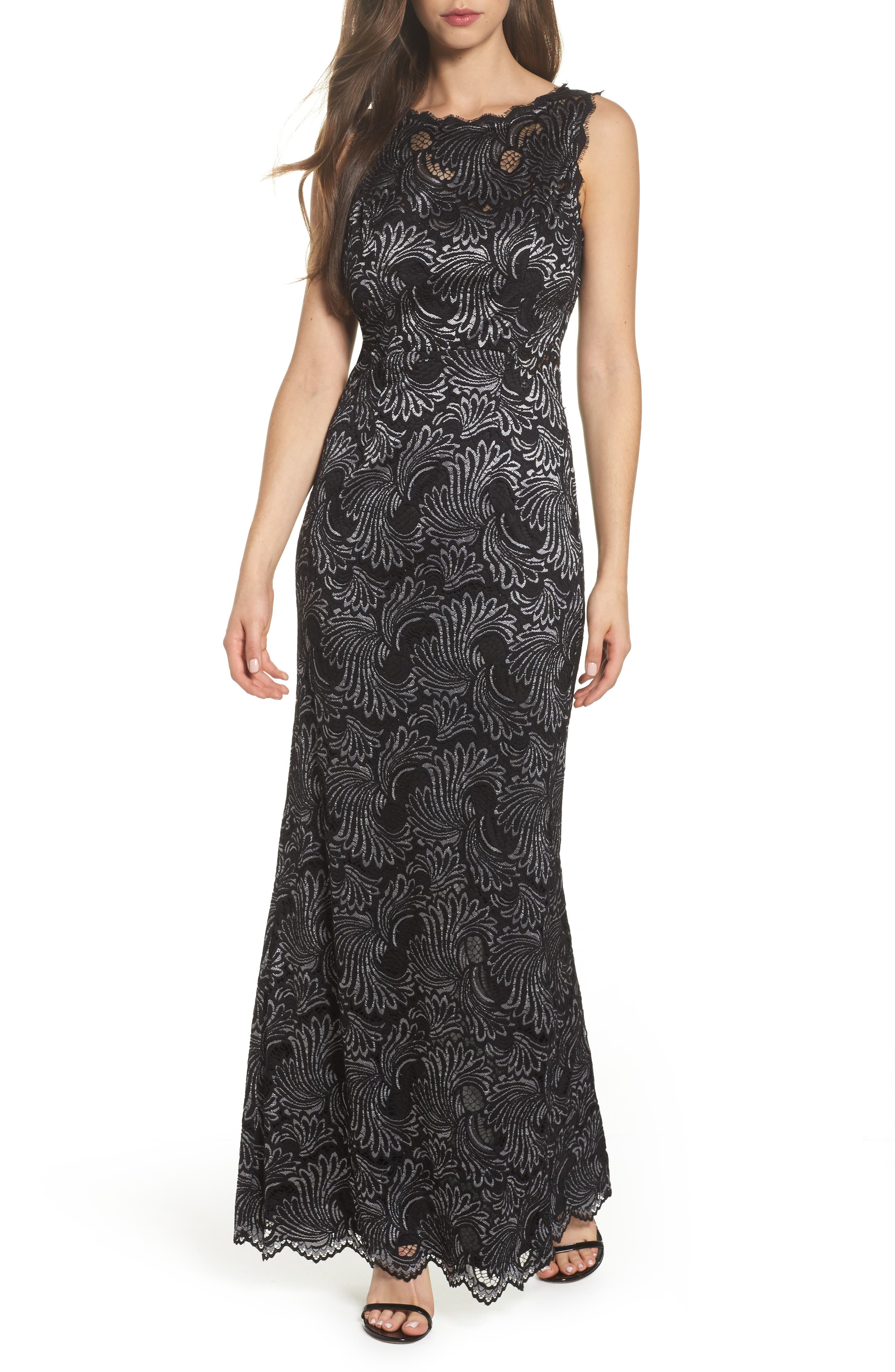 Two-Tone Lace Gown,                             Main thumbnail 1, color,                             Black/ Silver