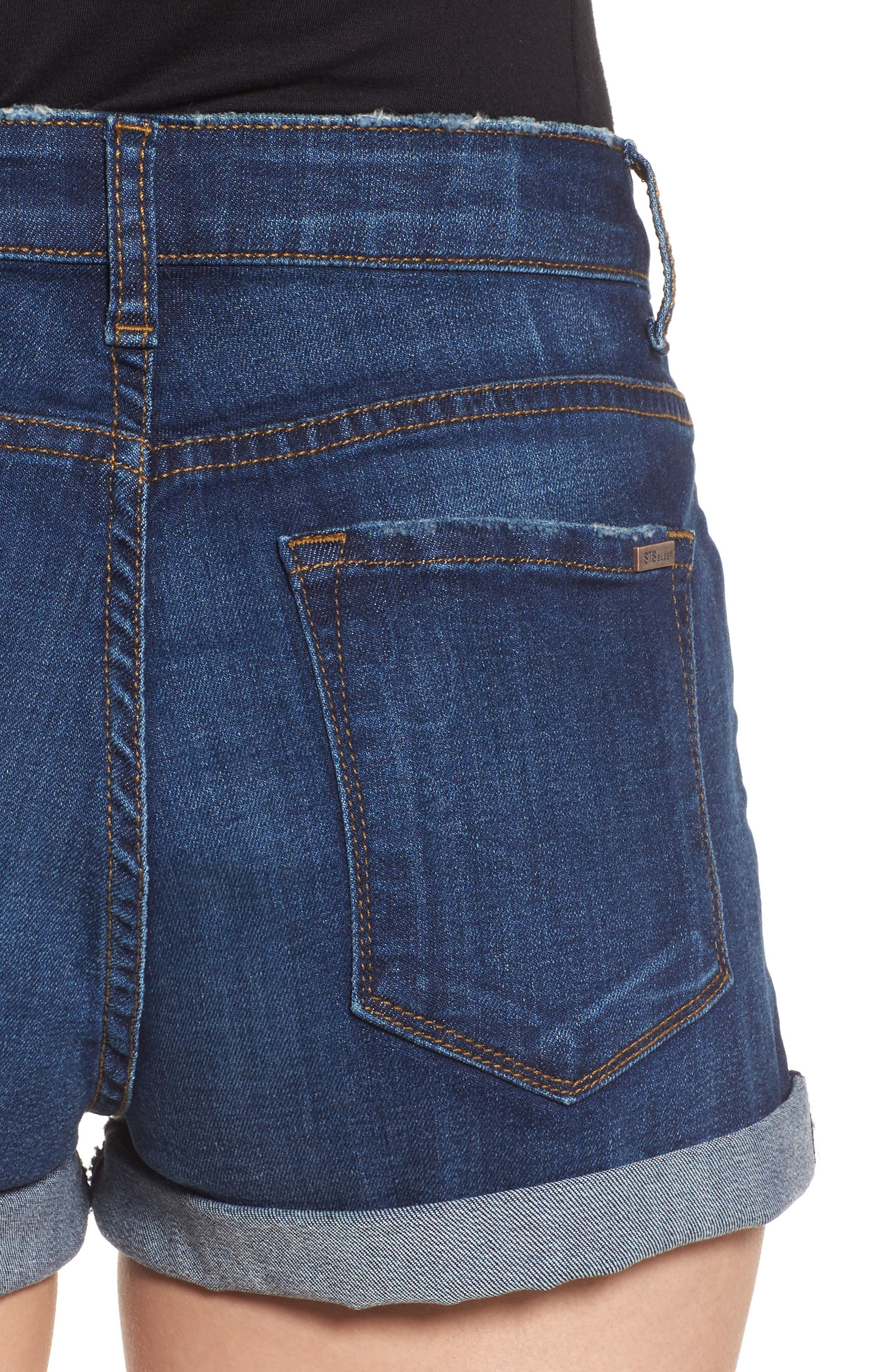 Rose Bowl Cuffed Denim Shorts,                             Alternate thumbnail 4, color,                             Sageland