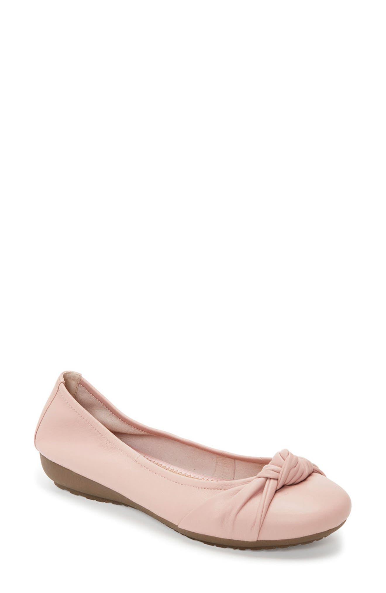 Jaci Flat,                             Main thumbnail 1, color,                             Pink Leather