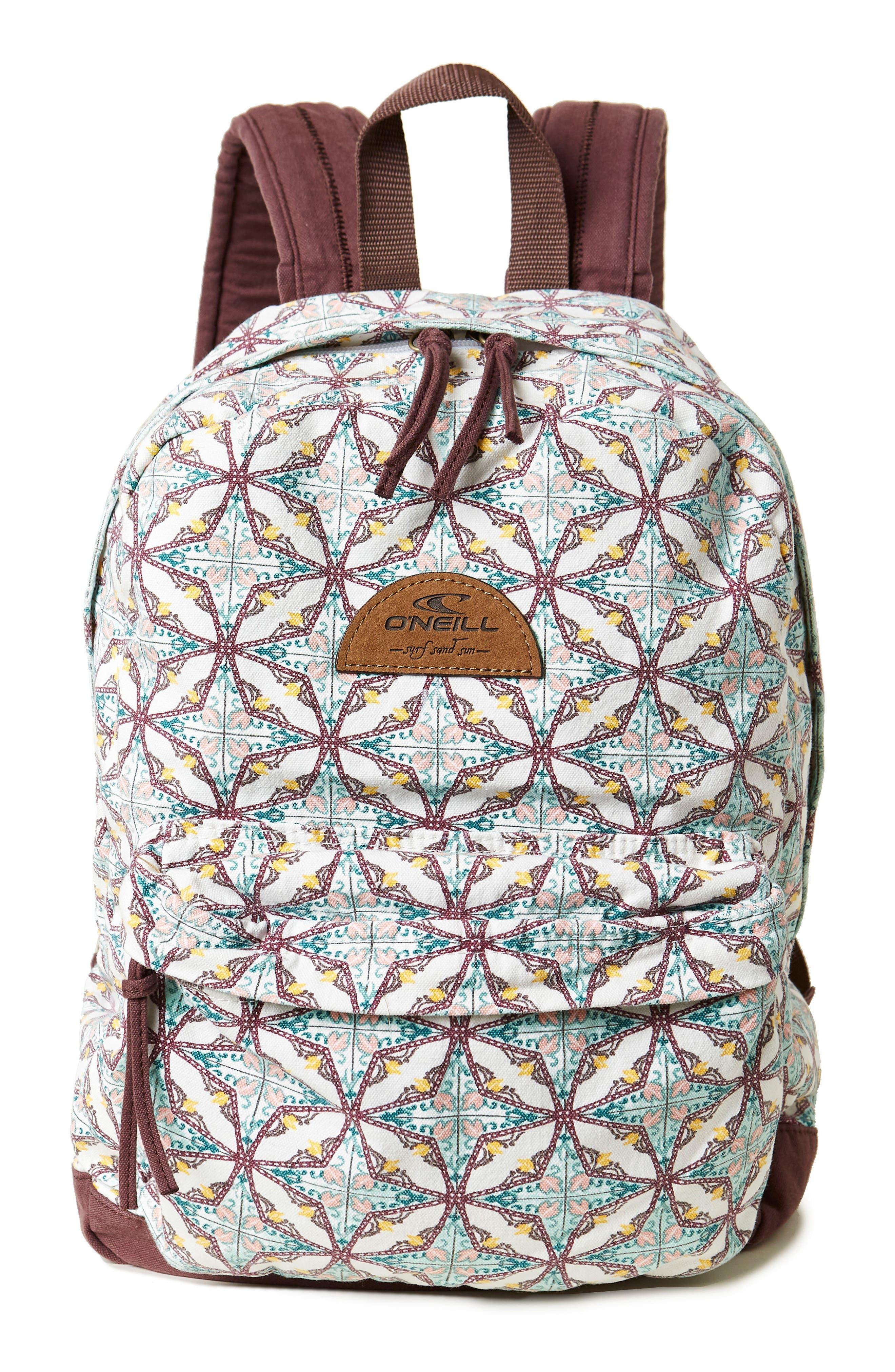Shoreline Print Backpack,                         Main,                         color, Vanilla
