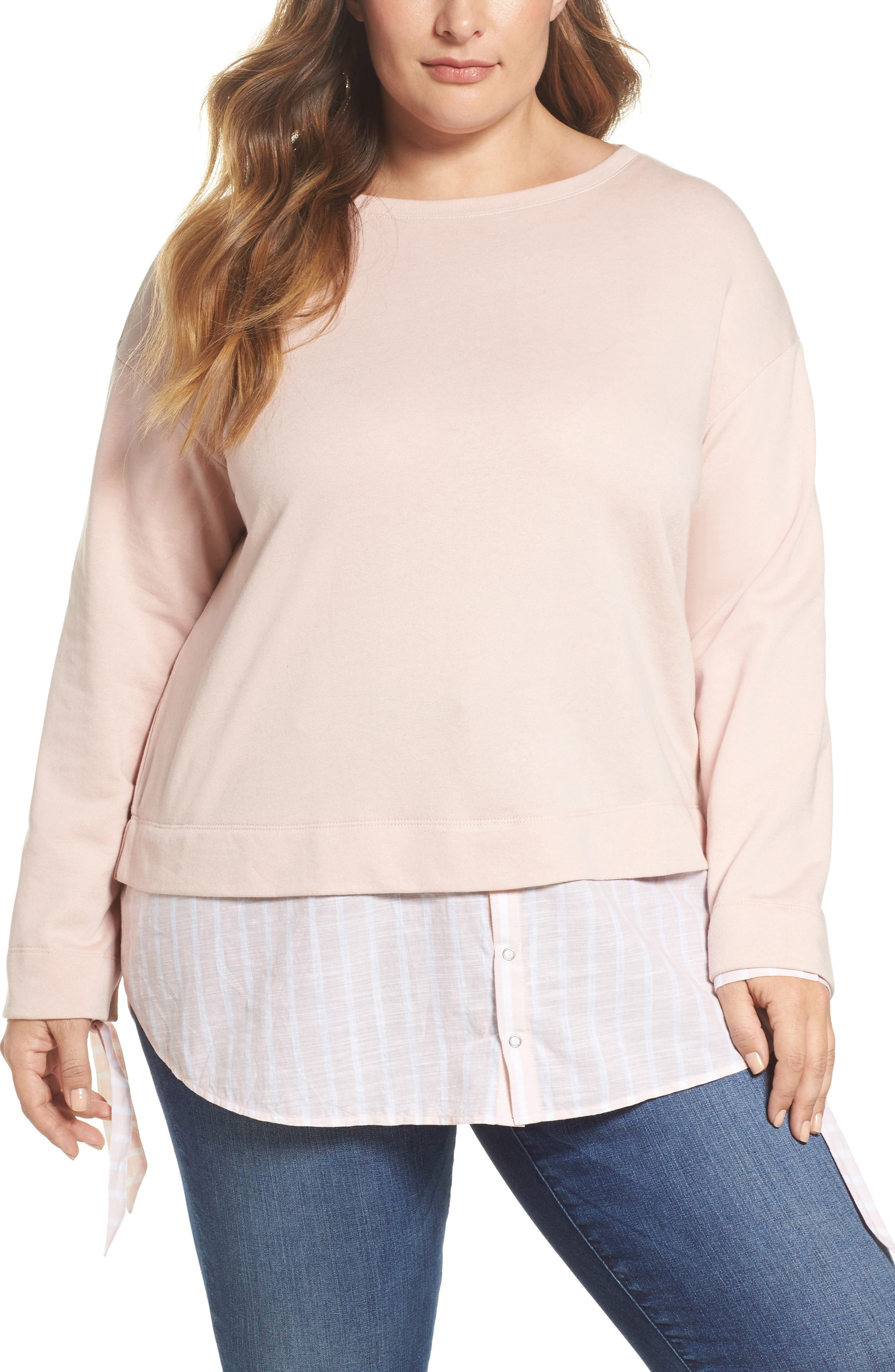 Woven Hem Sweatshirt,                             Main thumbnail 1, color,                             Pink- Stripe Colorblock