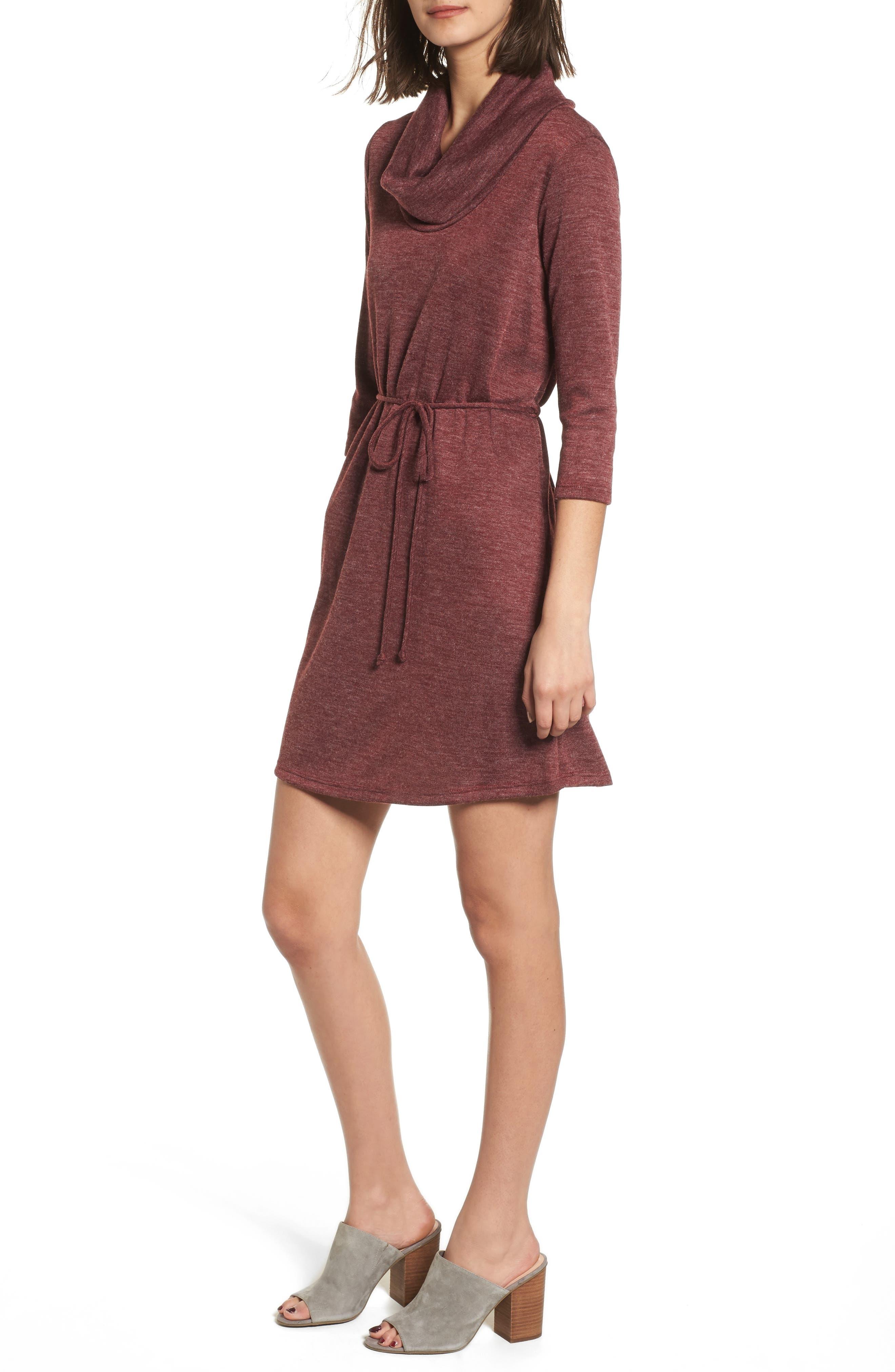 Cowl Neck Dress,                             Main thumbnail 1, color,                             Wine